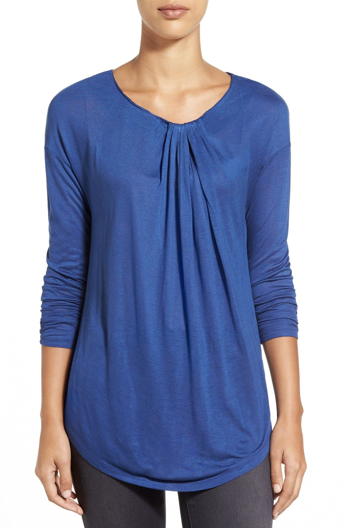 Long Sleeve Knot Front Top,                         Main,                         color, Blue Twilight