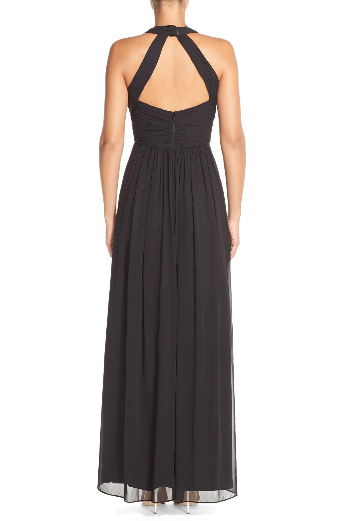 Dessy Collection Ruched Chiffon V-Neck Halter Gown,                             Alternate thumbnail 2, color,                             Black