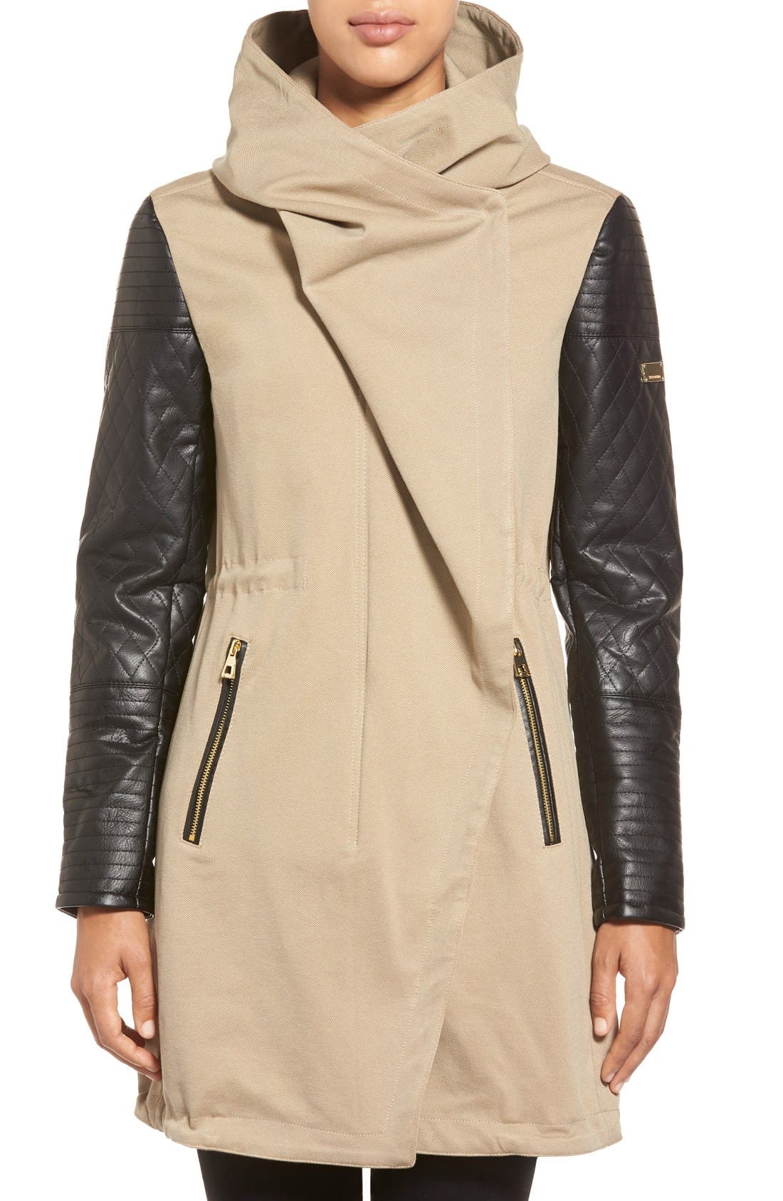 Main Image - Vince Camuto Faux Leather Sleeve Asymmetrical Anorak