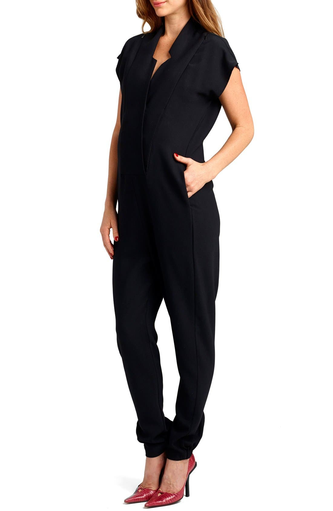 Alternate Image 3  - Loyal Hana 'Celia' Short Sleeve Maternity Jumpsuit
