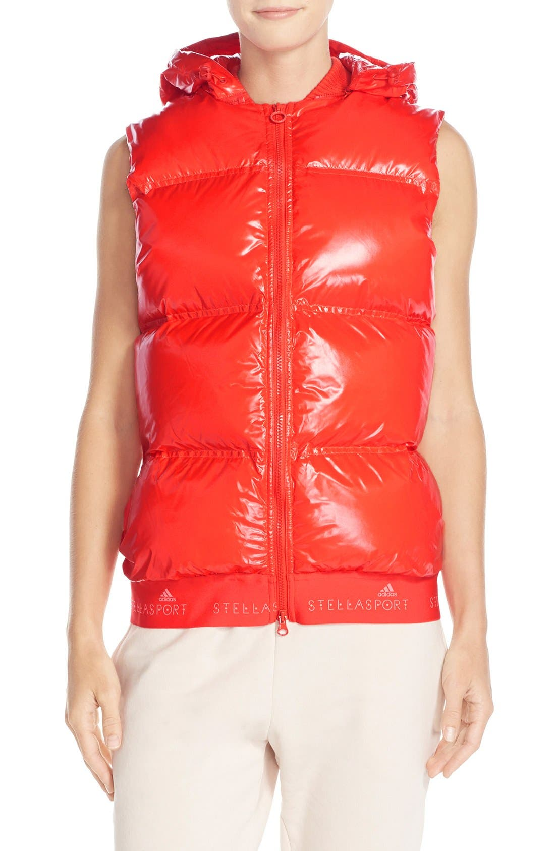 Main Image - adidas by Stella McCartney Hooded Quilted Gilet