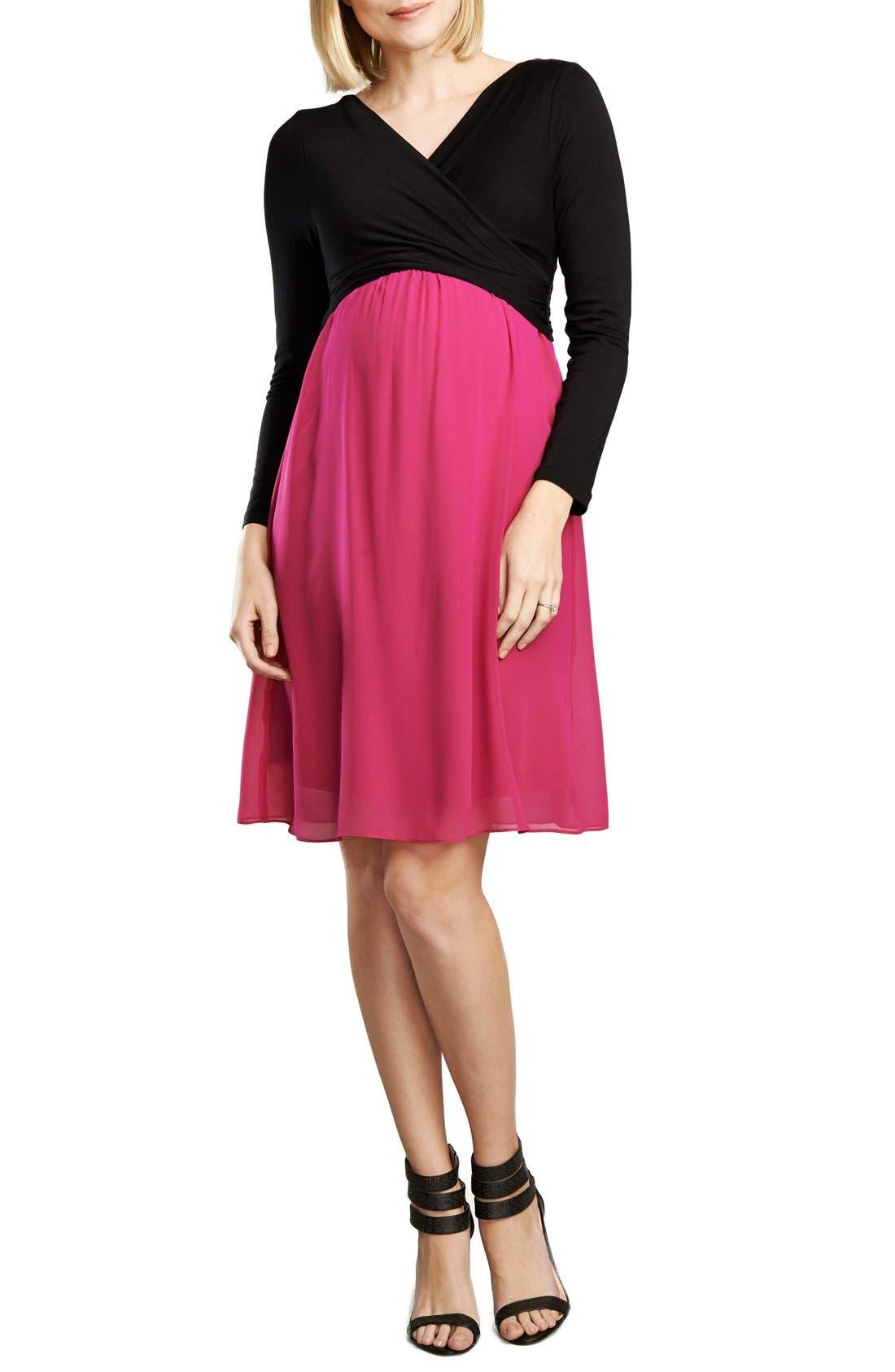 Crossover Maternity Dress,                         Main,                         color, Fuschia/Black