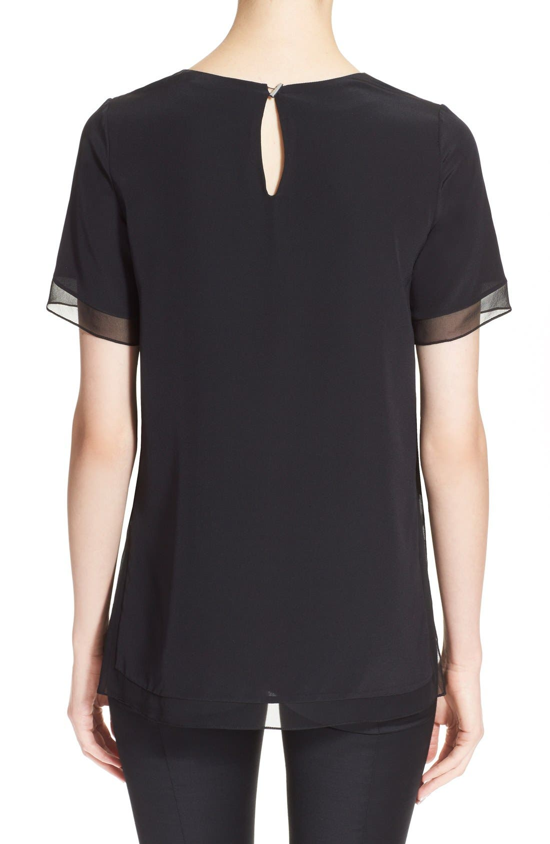 Alternate Image 2  - Prabal Gurung Short Sleeve Keyhole Silk Blouse
