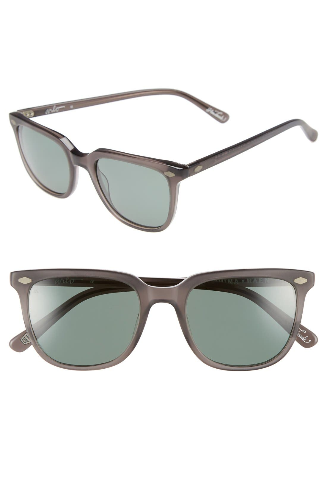 'Arlo' 53mm Polarized Sunglasses,                         Main,                         color, Matte Crystal/ Grey