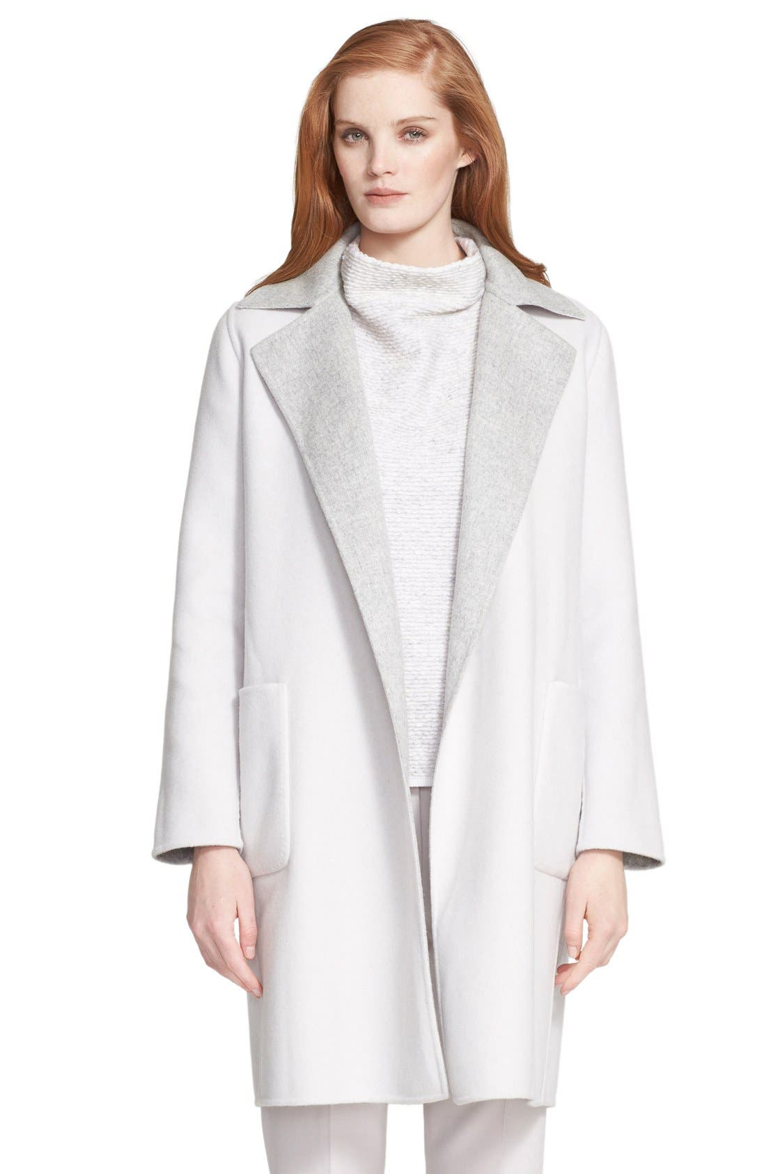 'Visone' Reversible Wool & Angora Wrap Coat with Belt,                         Main,                         color,