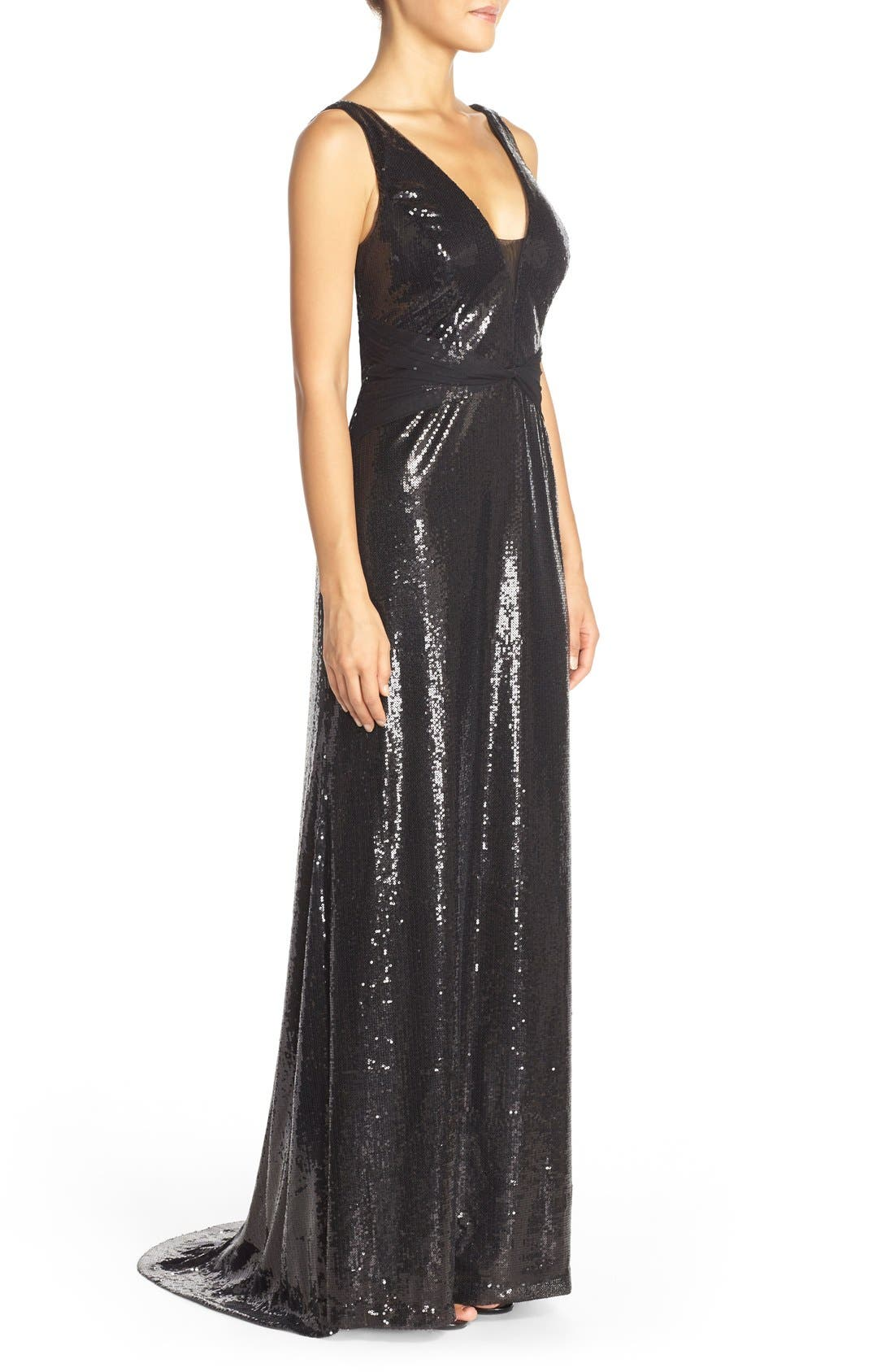 Alternate Image 3  - Vera Wang Mesh Inset Sequin Gown