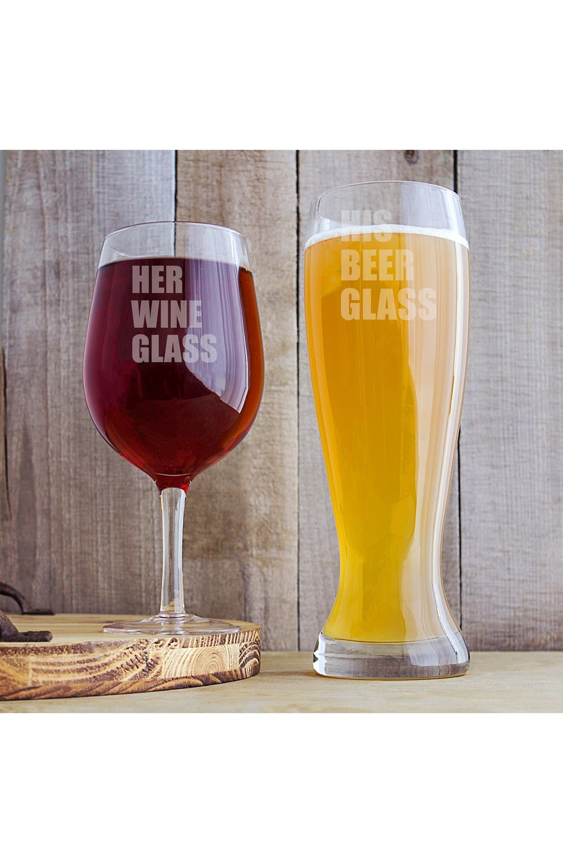 Cathy's Concept 'His & Hers' XL Beer & Wine Glass Set,                         Main,                         color, Clear