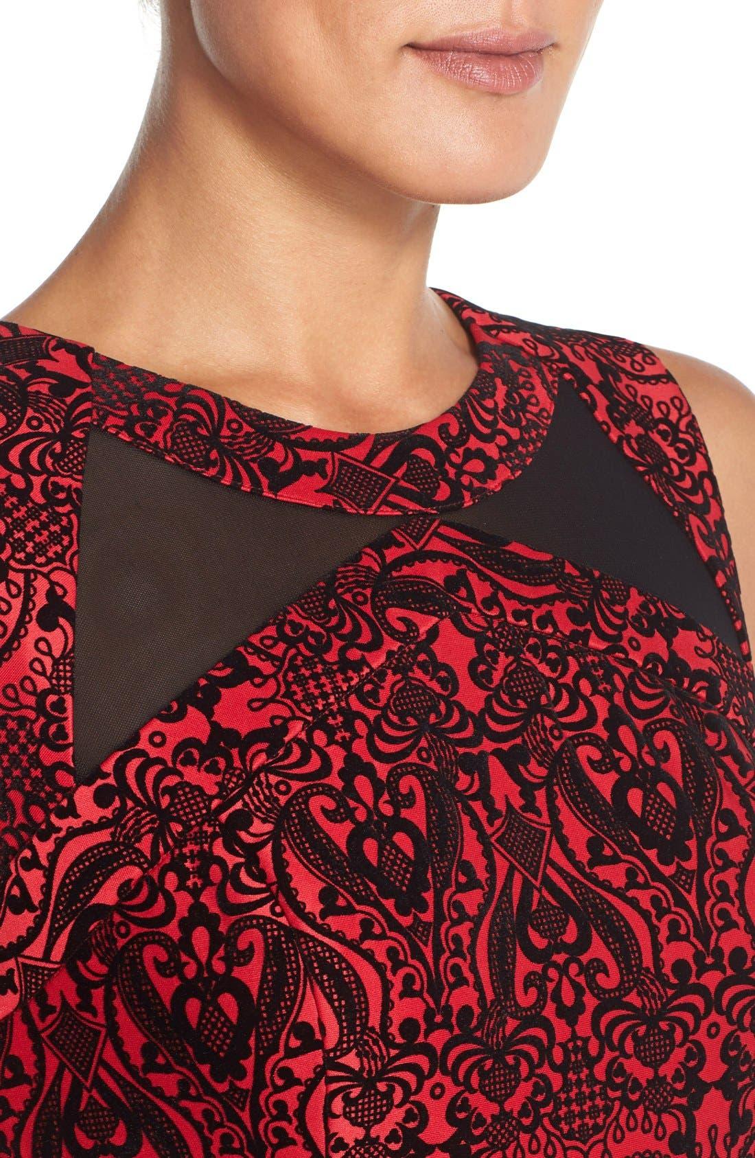 Flecked Scuba Sheath Dress,                             Alternate thumbnail 4, color,                             Black/ Red