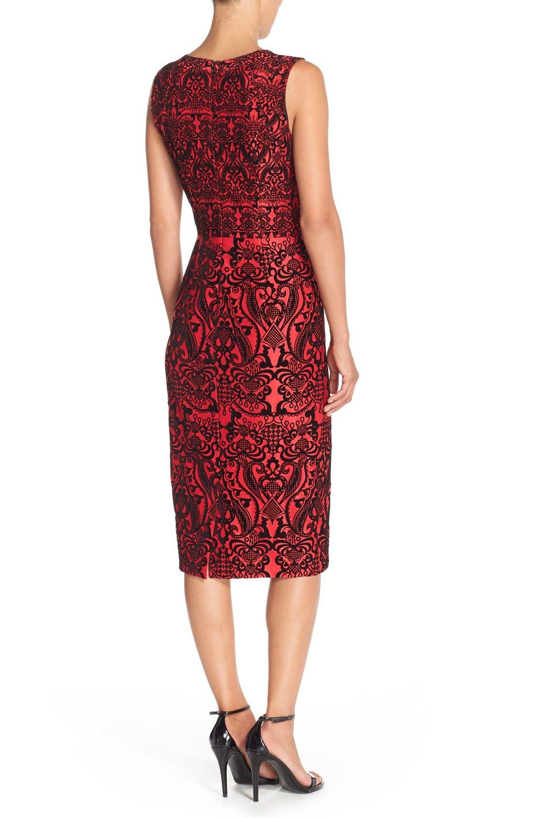 Flecked Scuba Sheath Dress,                             Alternate thumbnail 2, color,                             Black/ Red