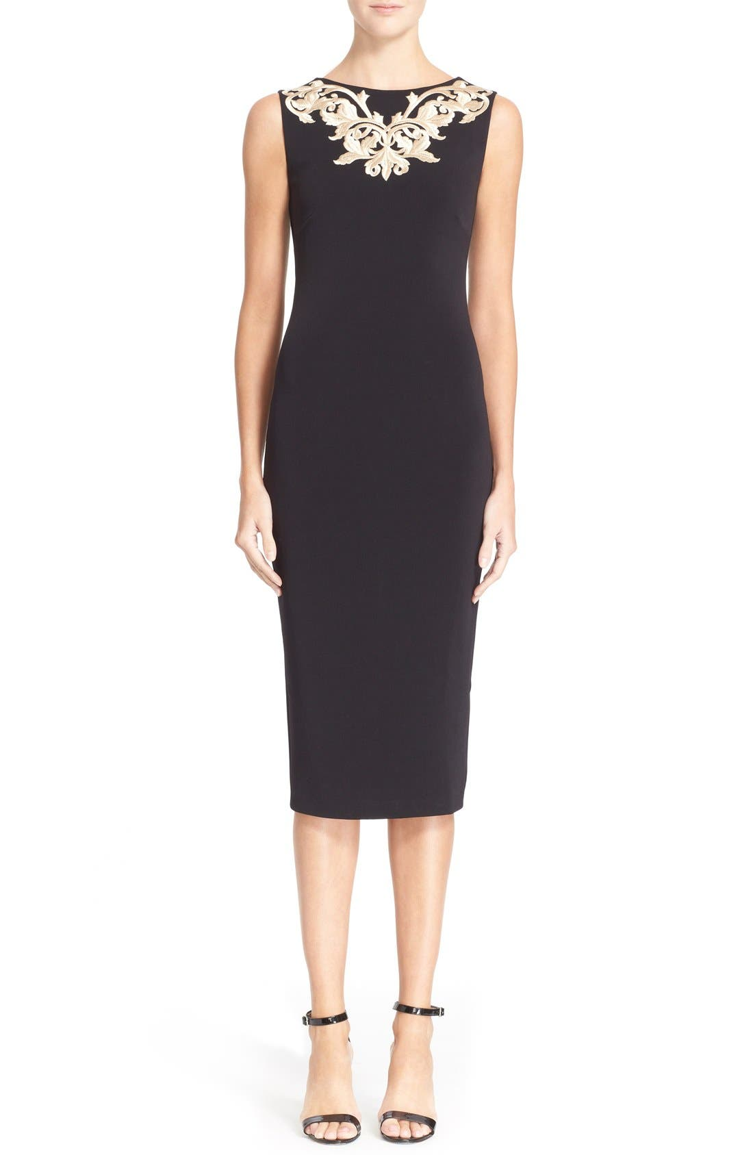 Main Image - Ted Baker London 'Tammara' Embroidered Midi Sheath Dress