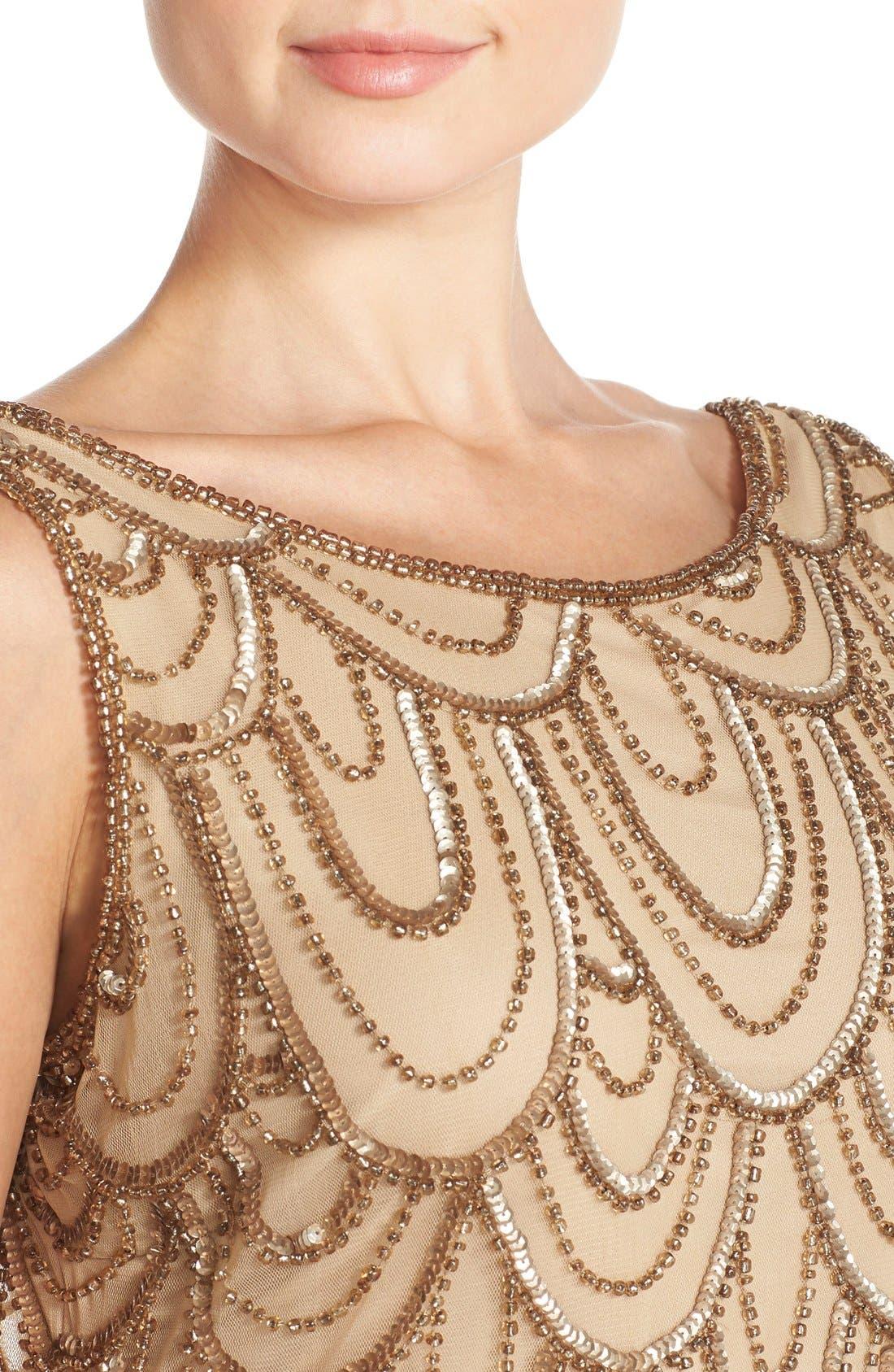 Alternate Image 4  - Pisarro Nights Embellished Mesh Sheath Dress (Regular & Petite)