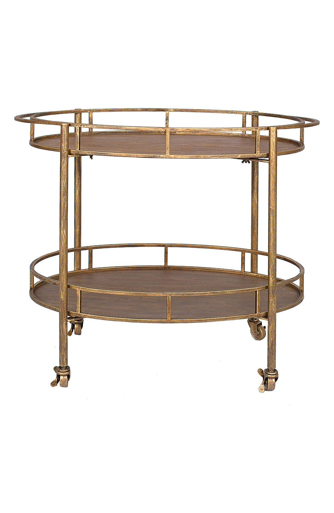 Two-Tier Metal Bar Cart,                             Main thumbnail 1, color,                             Gold