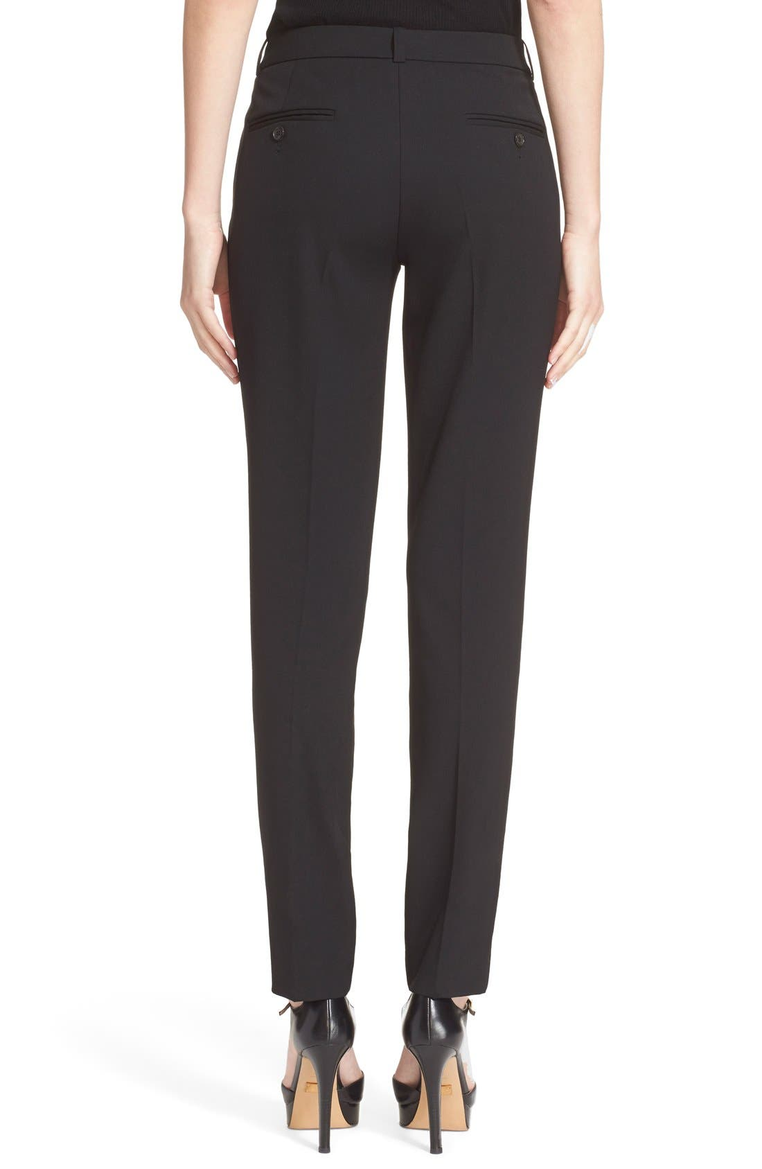 'Samantha' Stretch Wool Straight Leg Pants,                             Alternate thumbnail 2, color,                             Black