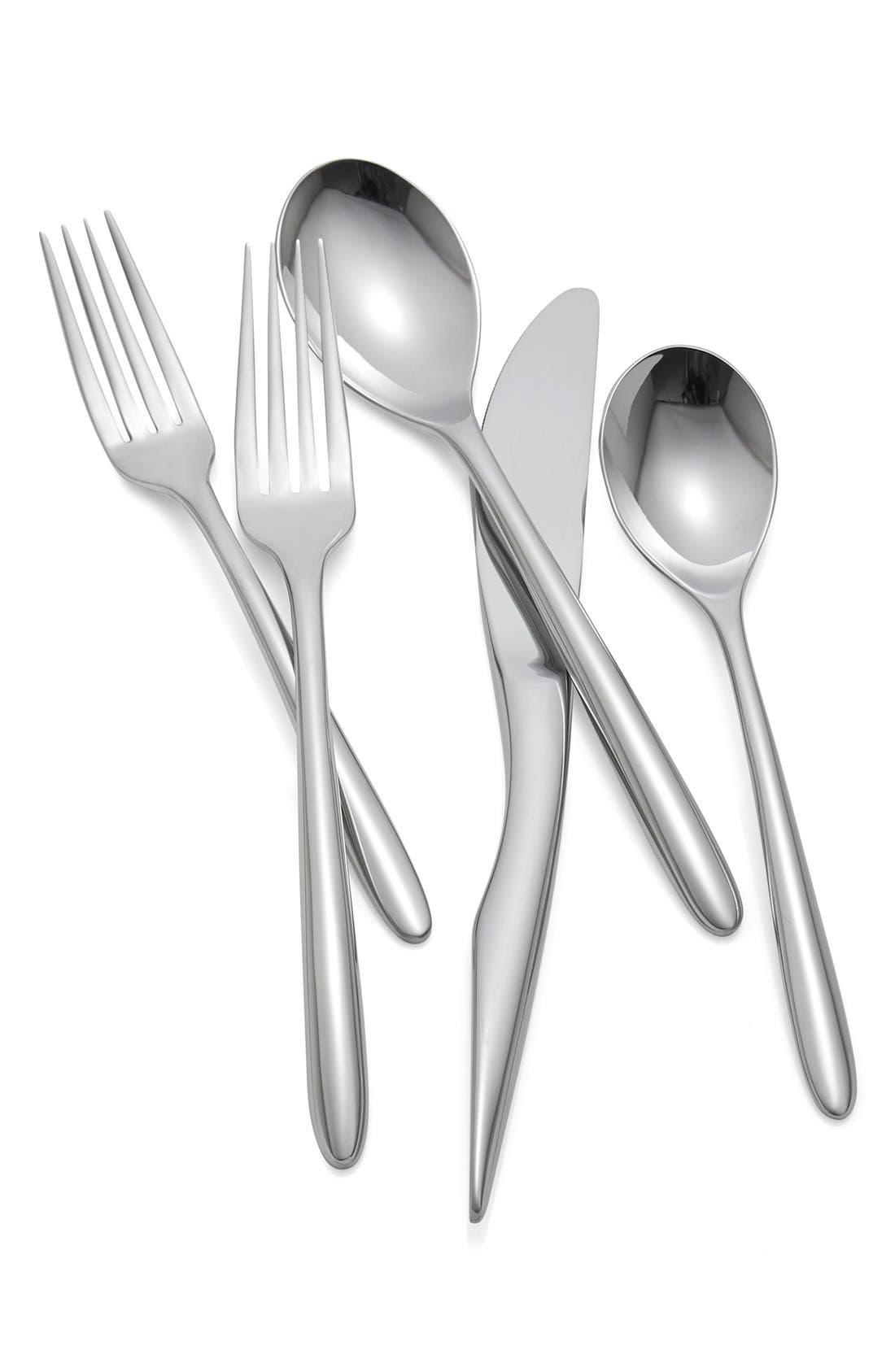 'Dune' 5-Piece Stainless Steel Table Setting,                             Main thumbnail 1, color,                             Silver