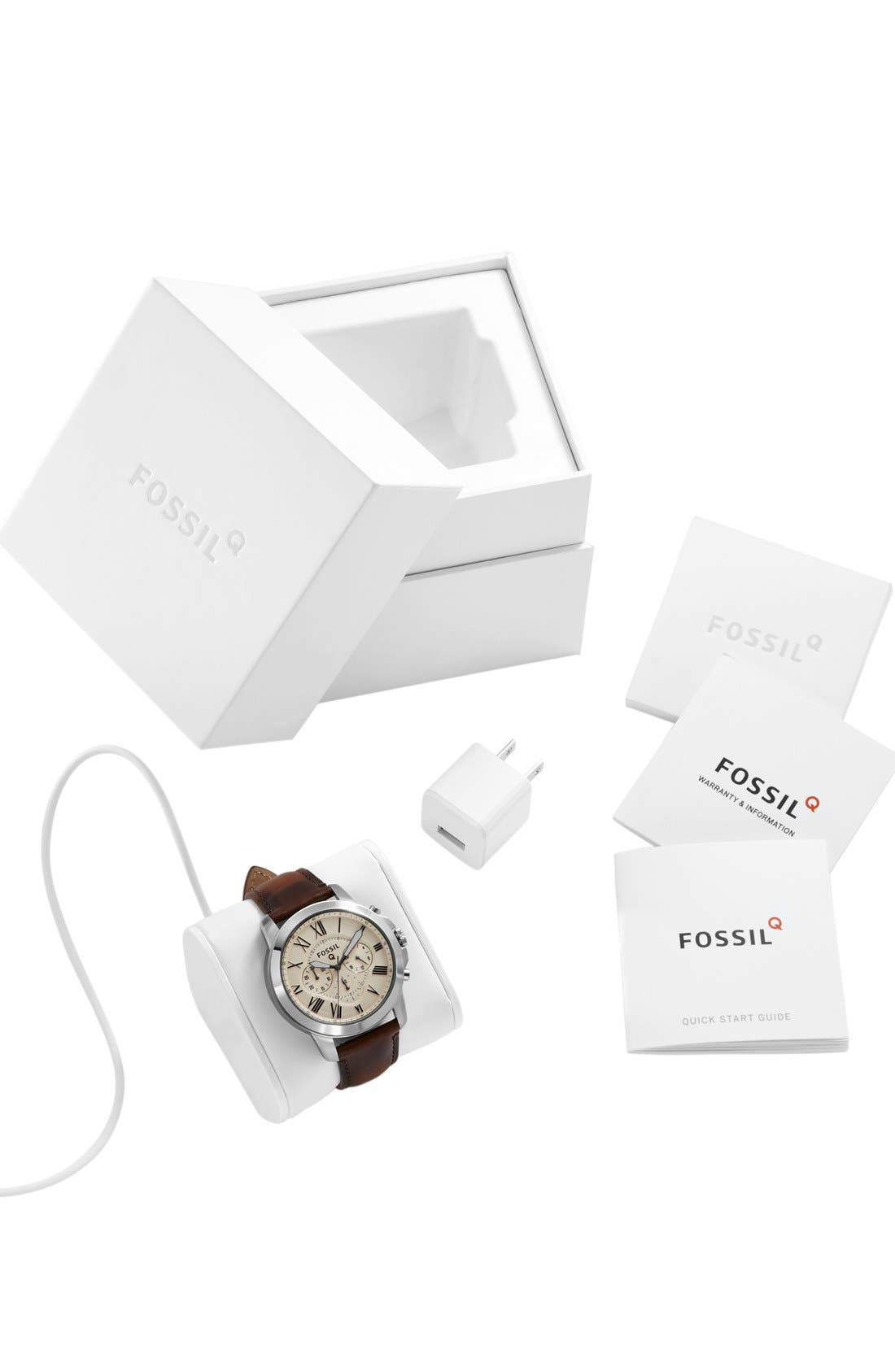 Fossil 'Fossil Q - Grant' Round Chronograph Leather Strap Smart Watch, 44mm,                             Alternate thumbnail 6, color,                             Brown/ Egg Shell