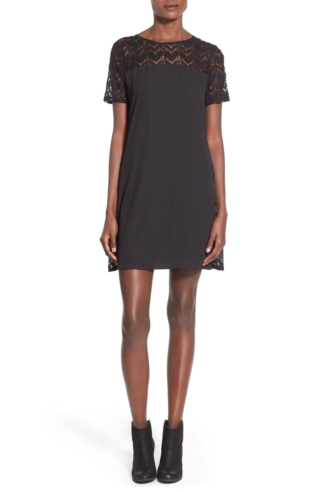 Main Image - BP. Lace Yoke Scoop Back Shift Dress