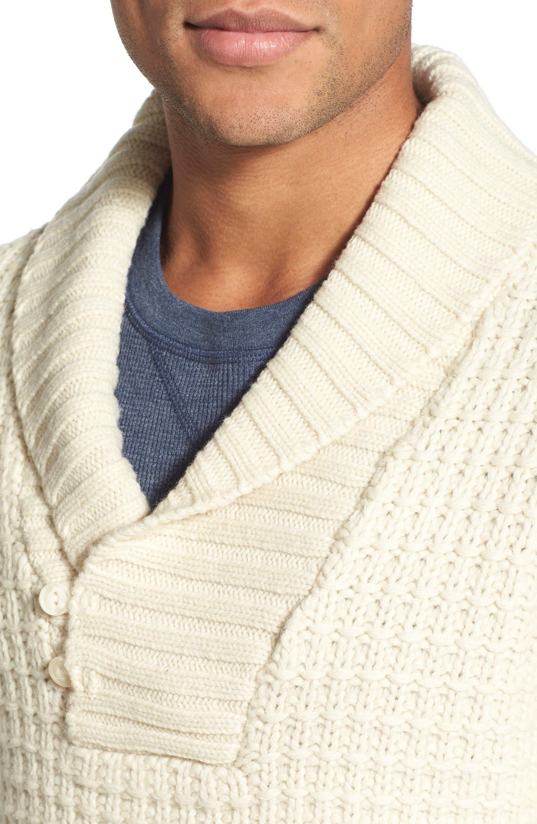 Shawl Collar Knit Pullover,                             Alternate thumbnail 4, color,                             Off White