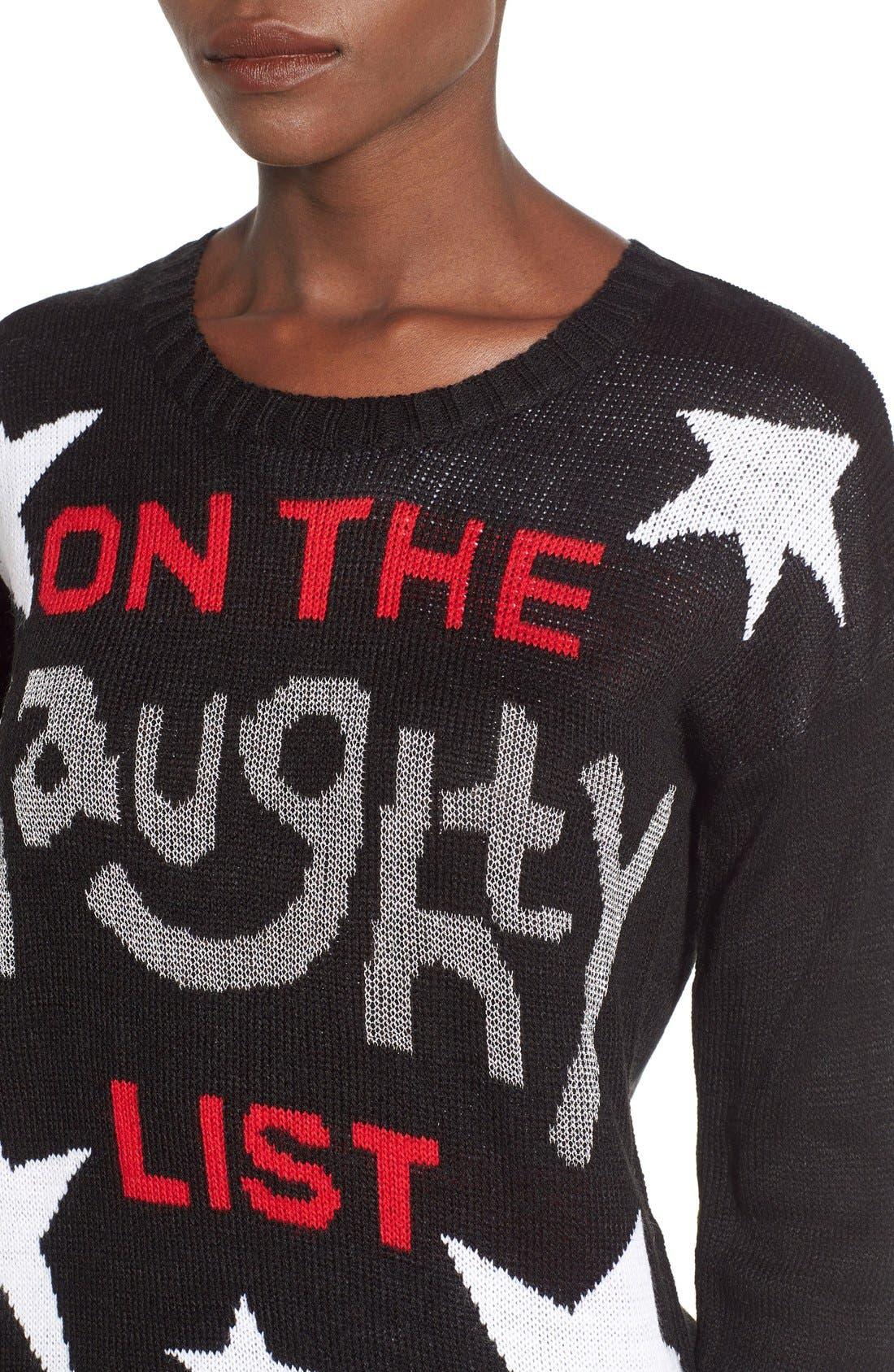 Alternate Image 4  - Derek Heart 'Naughty List' Christmas Sweater