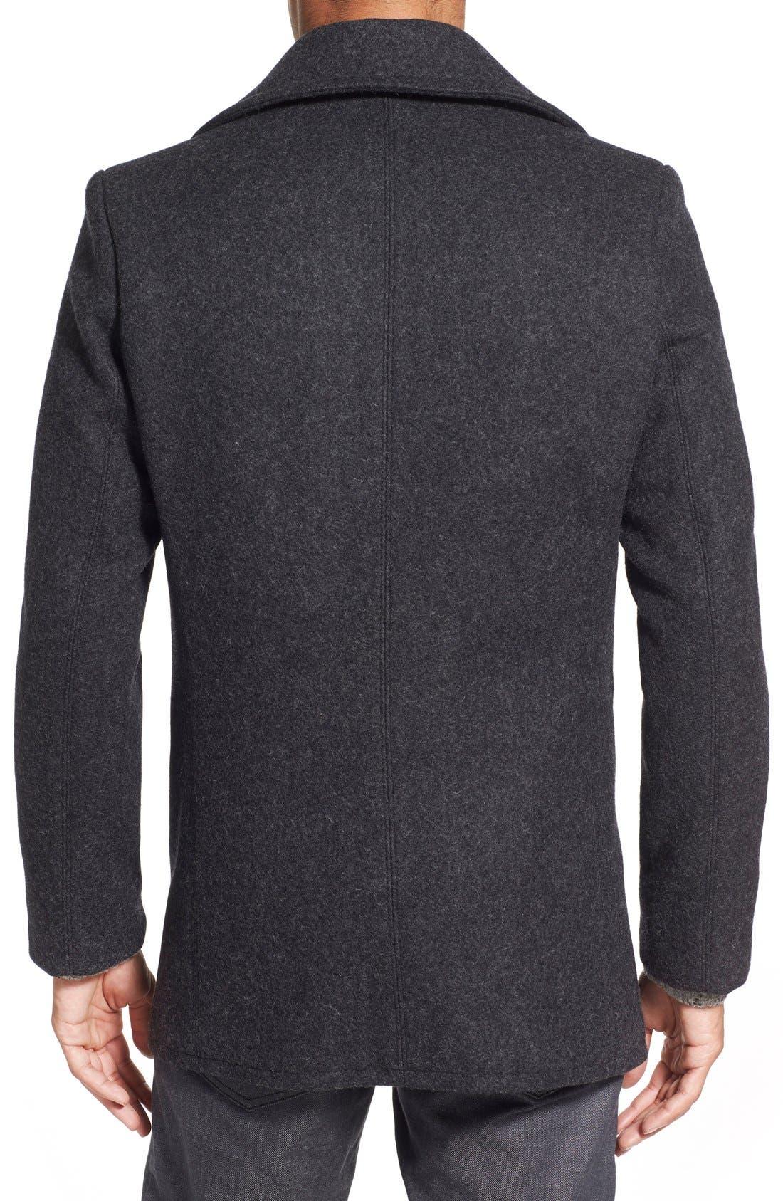 Slim Fit Wool Blend Peacoat,                             Alternate thumbnail 2, color,                             Dark Oxford Grey