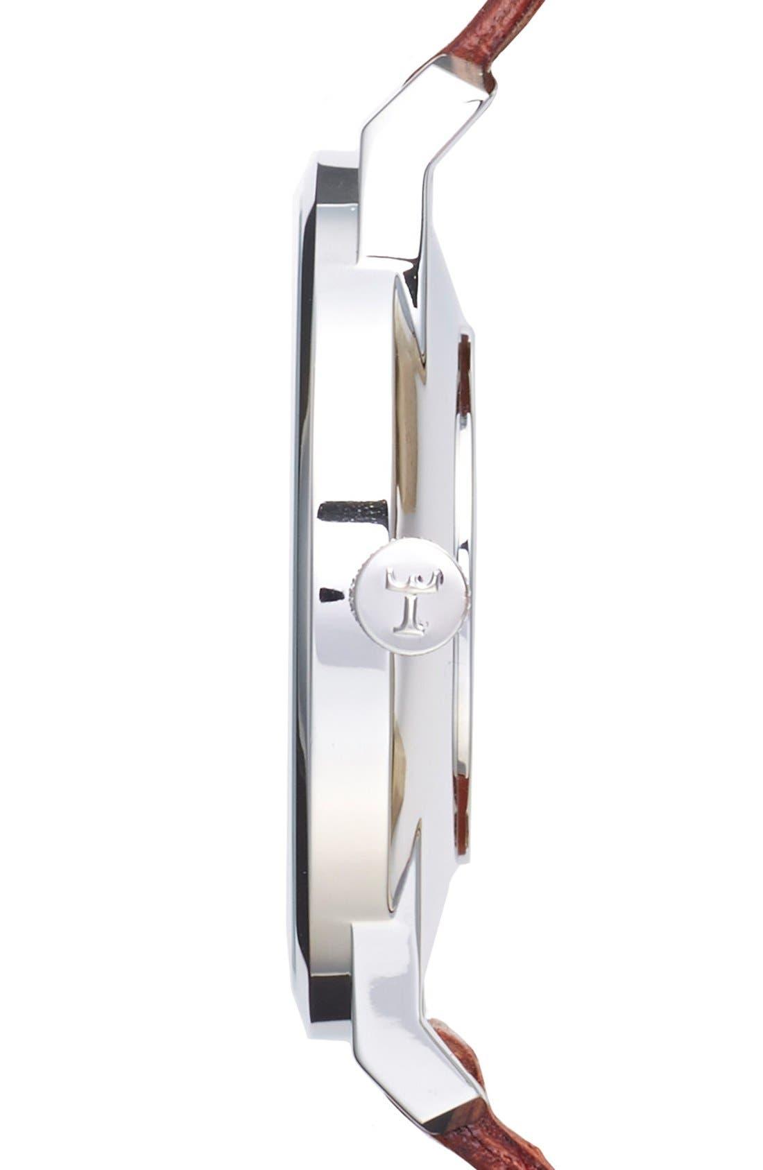 Ivory Falken Organic Leather Strap Watch, 38mm,                             Alternate thumbnail 5, color,                             Cognac/ Silver/ White