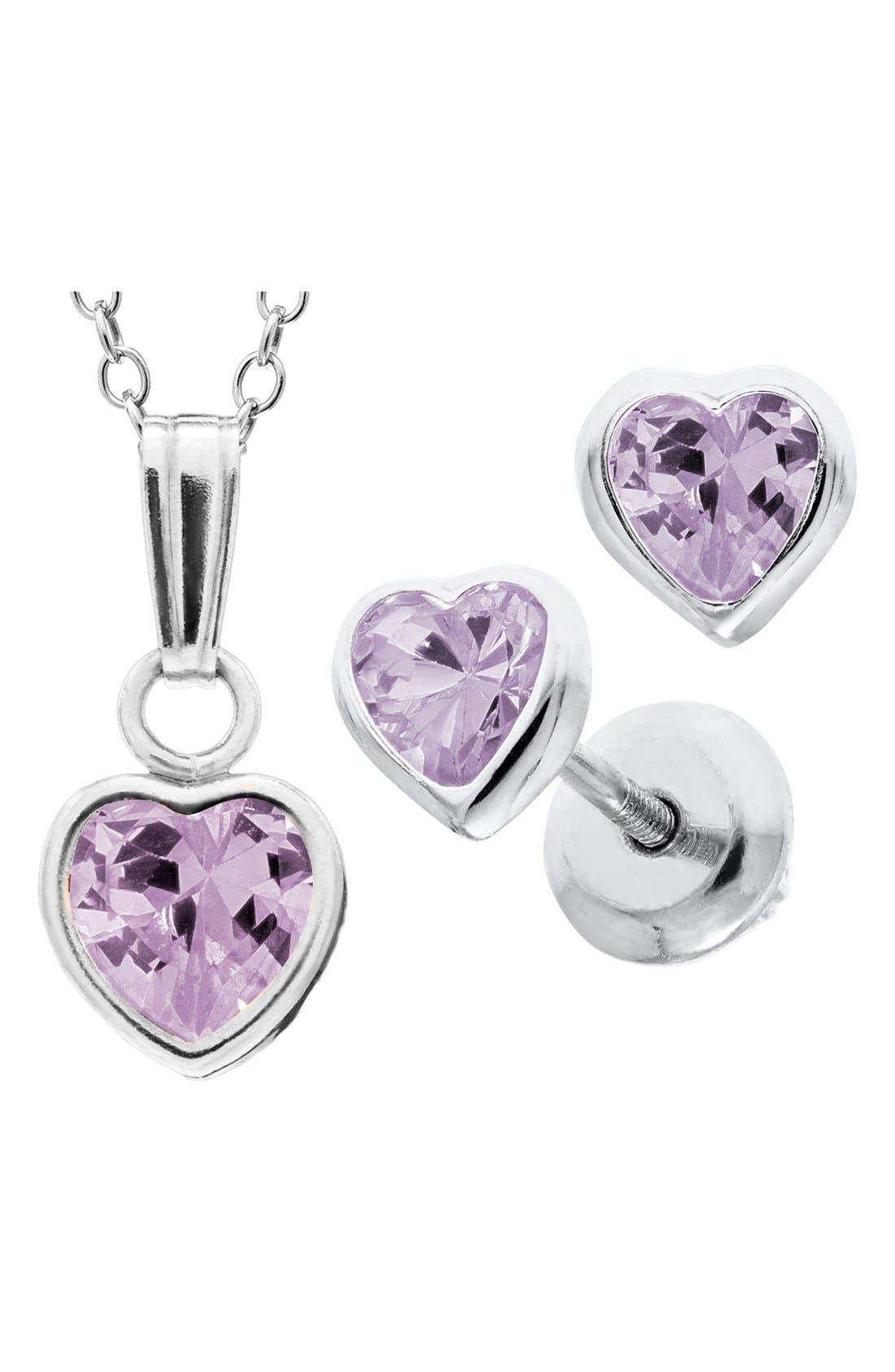 Alternate Image 2  - Mignonette Sterling Silver & Cubic Zirconia Birthstone Necklace & Earrings Set (Girls)