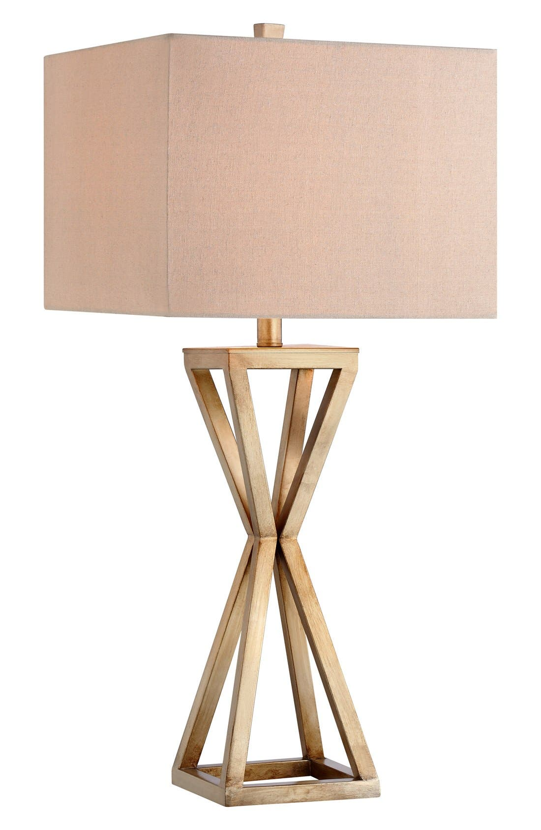 Open Caged Metal Table Lamp,                             Main thumbnail 1, color,                             Gold