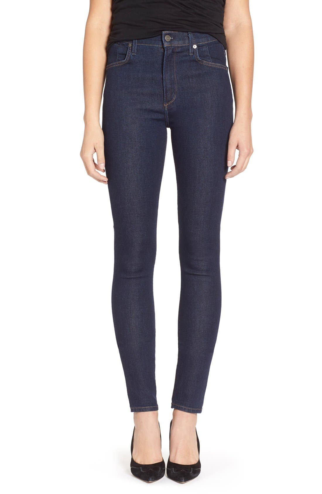 'Carlie' High Rise Skinny Jeans,                         Main,                         color, Clean Blue