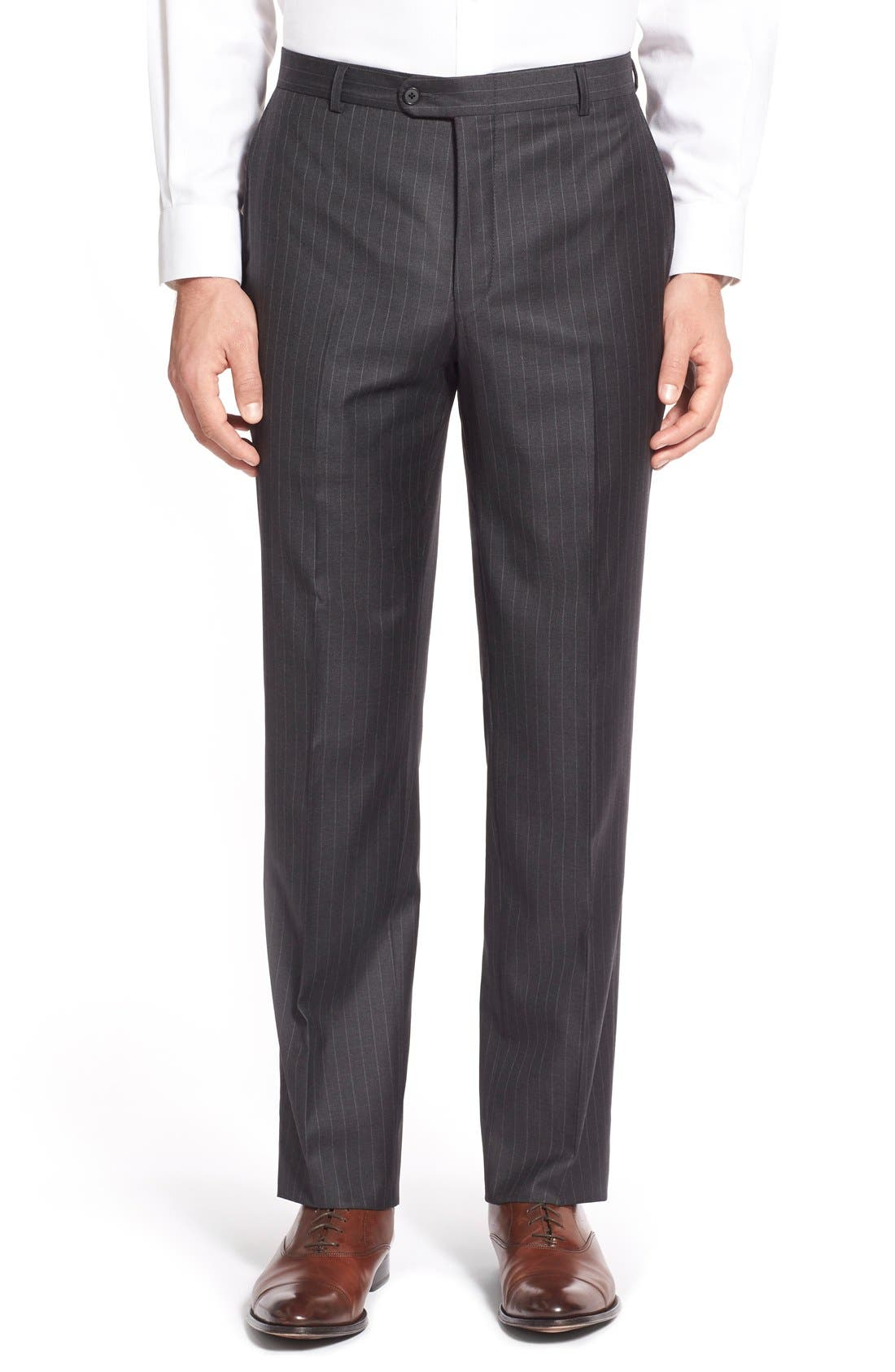 Alternate Image 6  - Hickey Freeman 'Beacon - B Series' Classic Fit Stripe Wool Suit