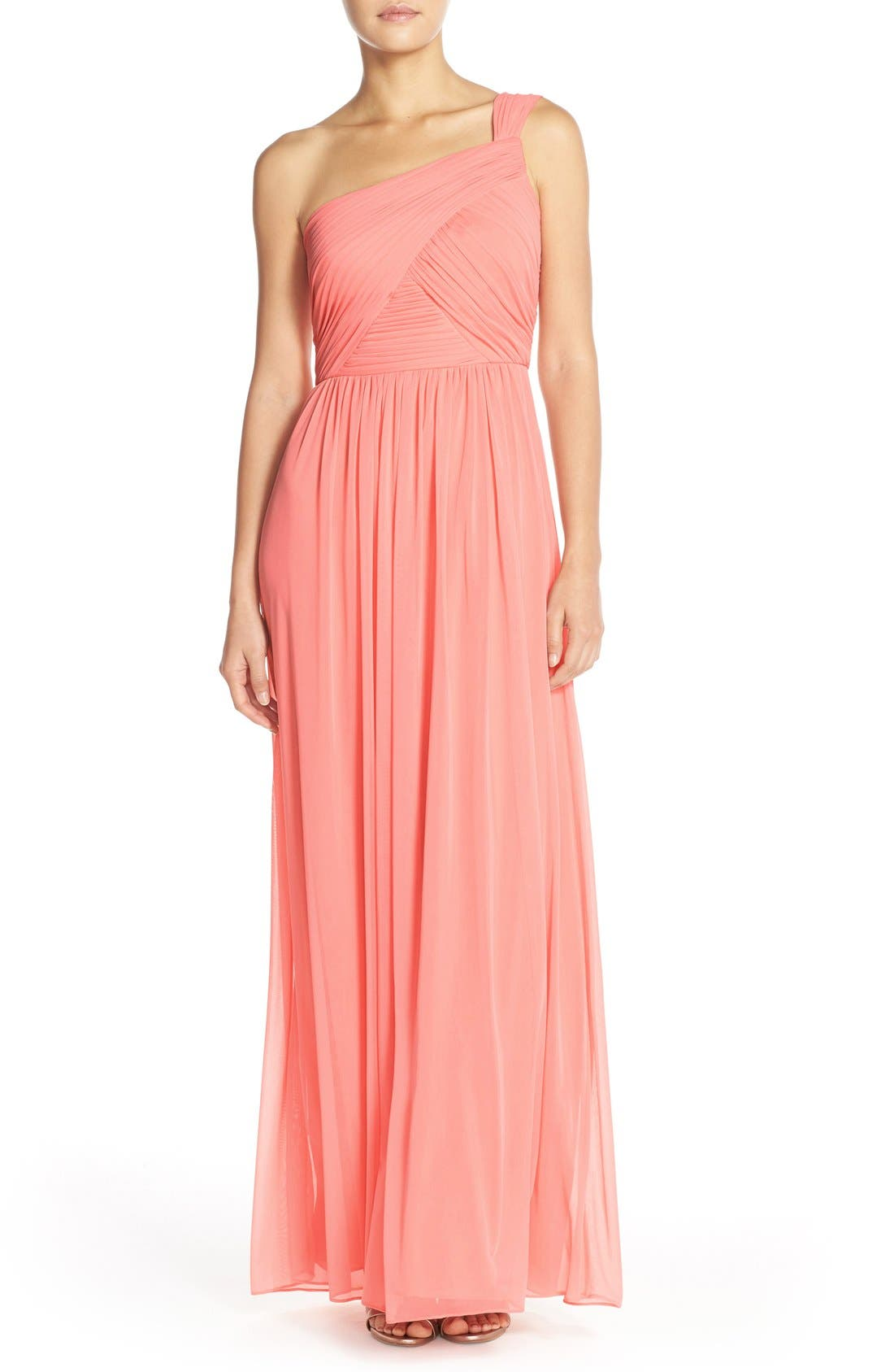 One-ShoulderShirred ChiffonGown,                         Main,                         color, Apricot