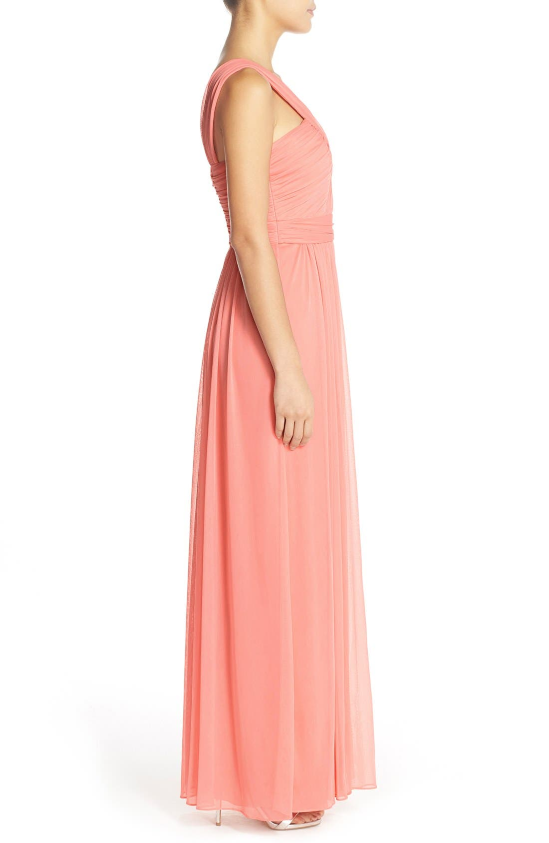 Alternate Image 3  - Alfred Sung Shirred Chiffon V-Neck Gown