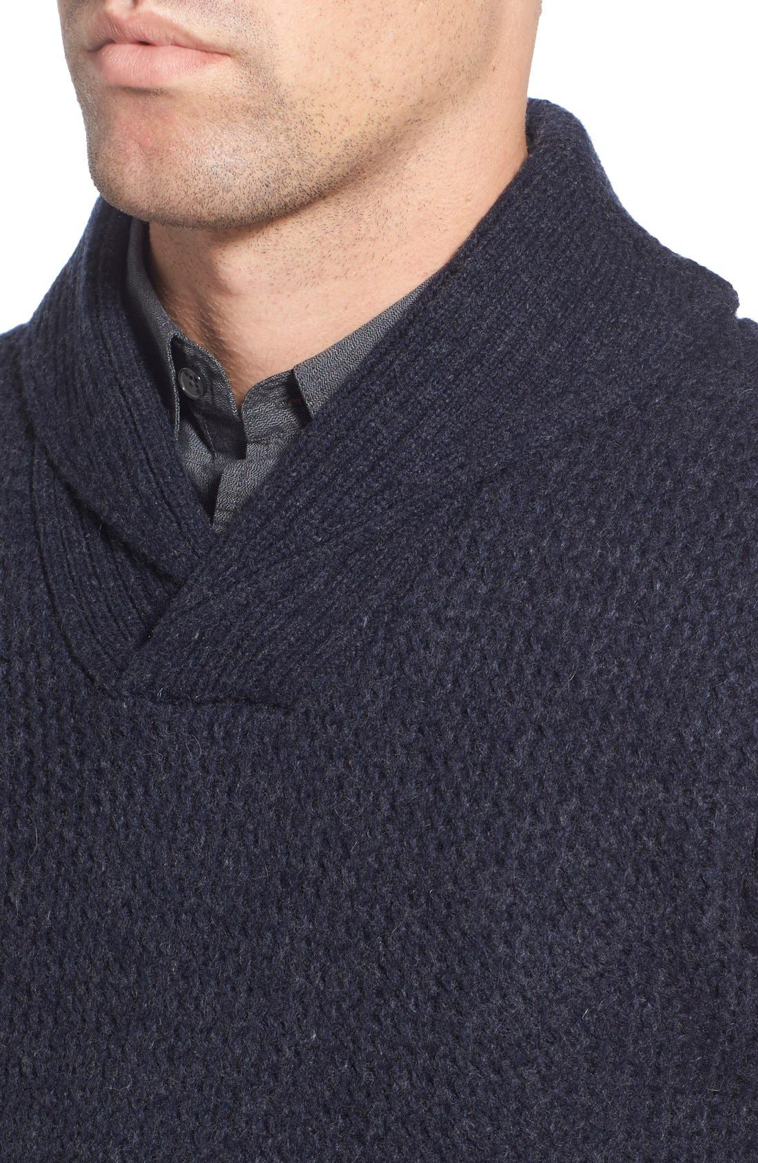 Regular Fit Shawl Collar Sweater,                             Alternate thumbnail 4, color,                             Navy