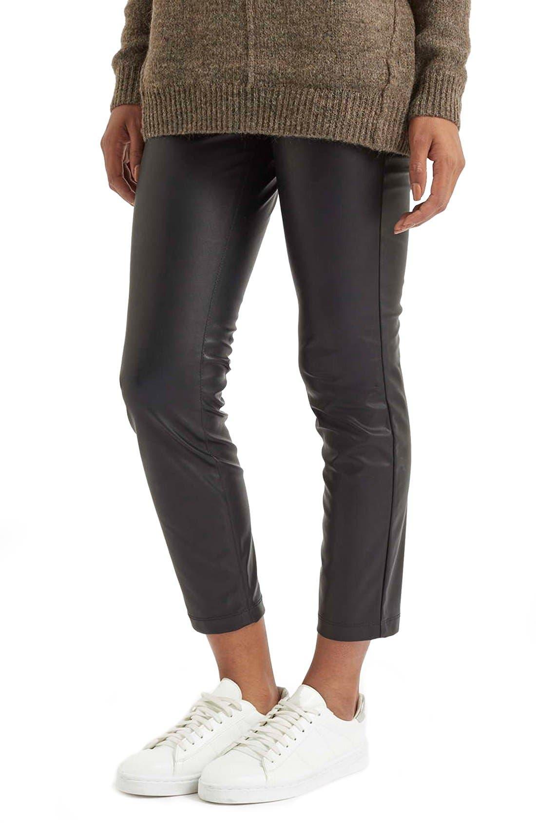 Faux Leather Crop Trousers,                             Main thumbnail 1, color,                             Black