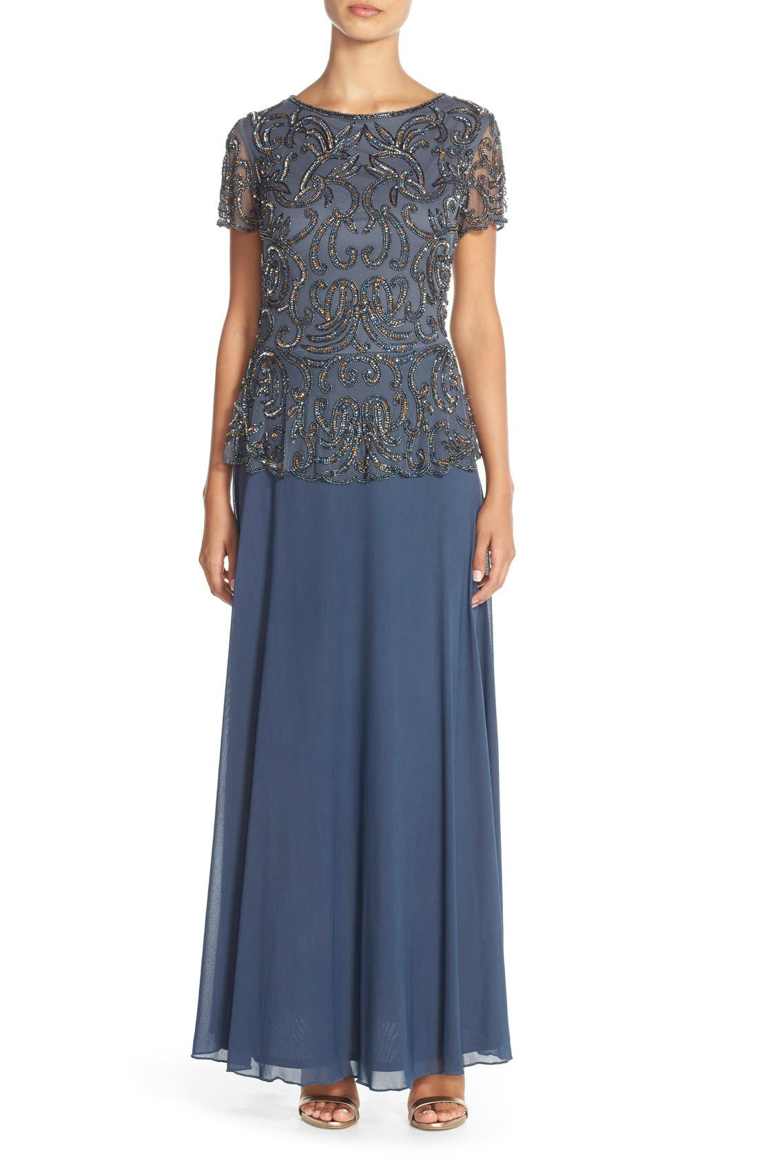 Embellished Mesh & Chiffon Gown,                             Main thumbnail 1, color,                             Grey