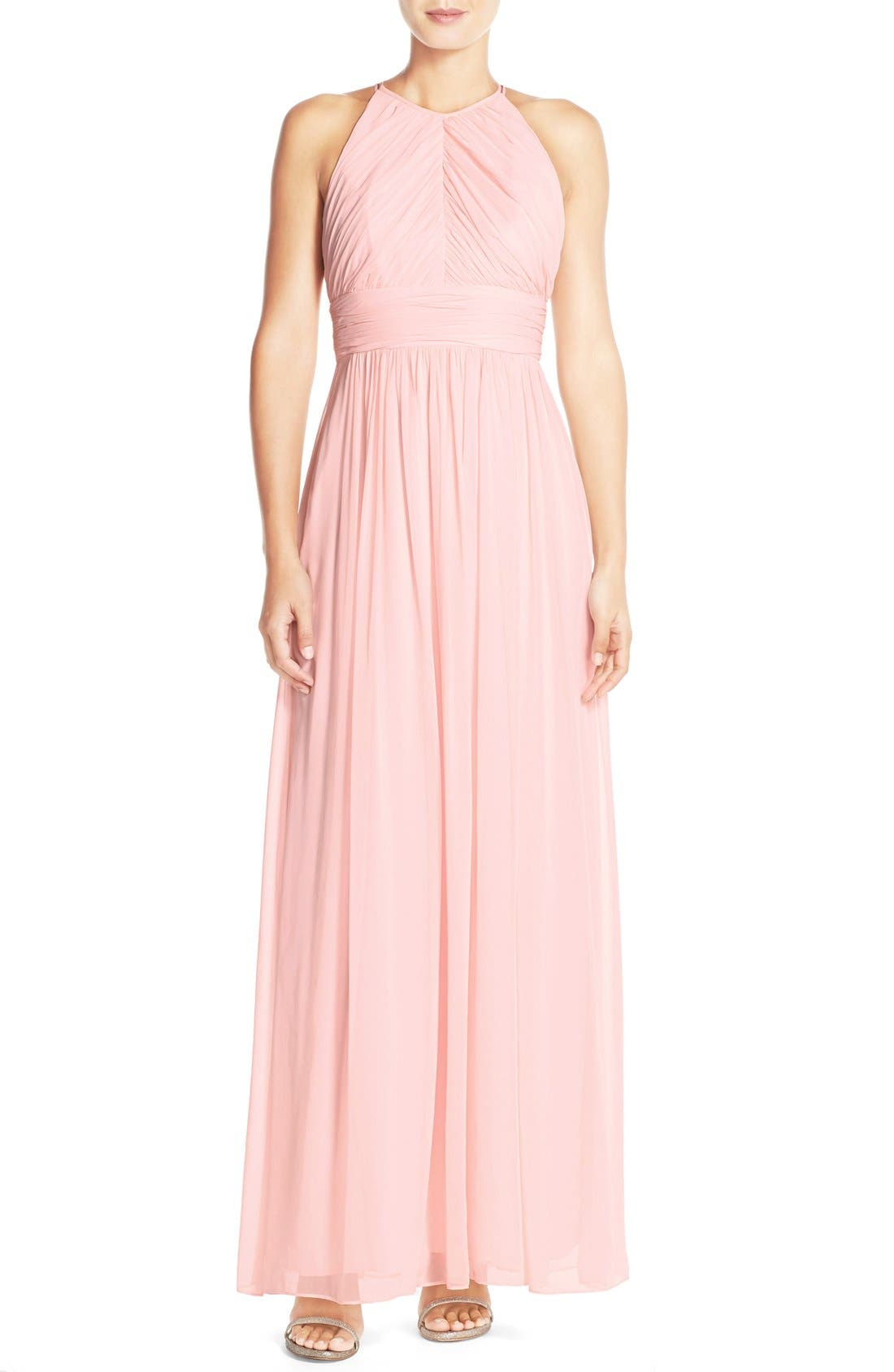 Main Image - DessyCollection RuchedChiffonOpen Back Halter Gown