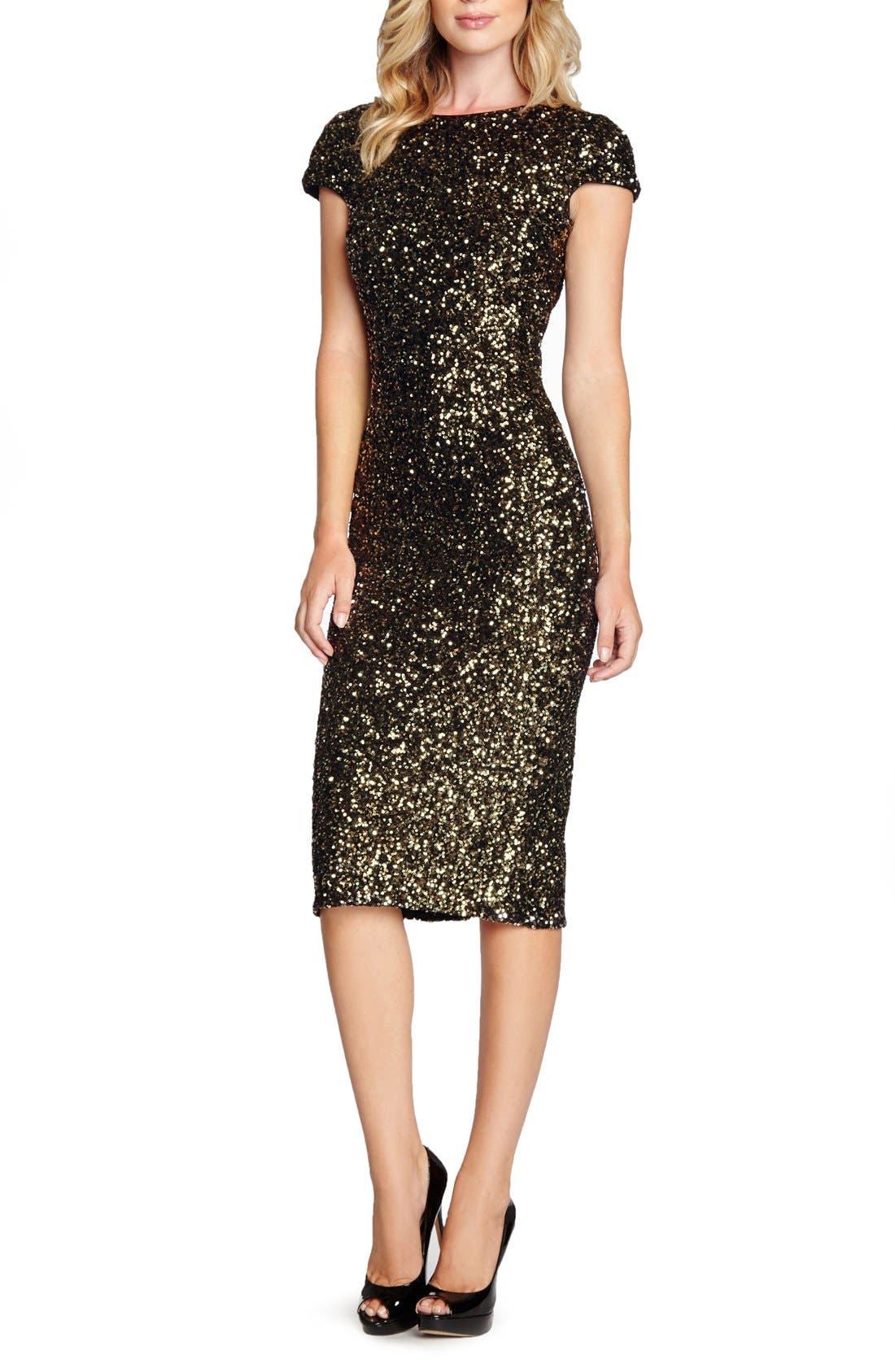 'Marcella' Open Back Sequin Body-Con Dress,                         Main,                         color, Anitque Gold