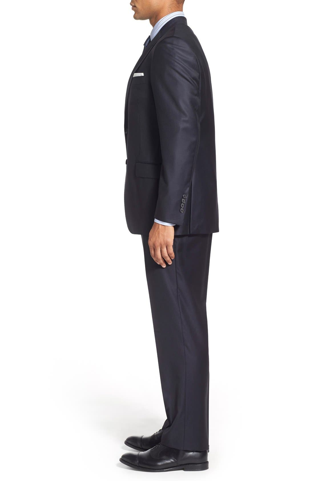 Classic B Fit Solid Wool Suit,                             Alternate thumbnail 3, color,                             Navy