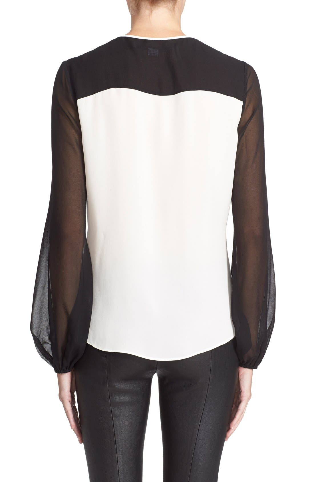 'Nikki' Silk Top,                             Alternate thumbnail 2, color,                             Ivory/ Black