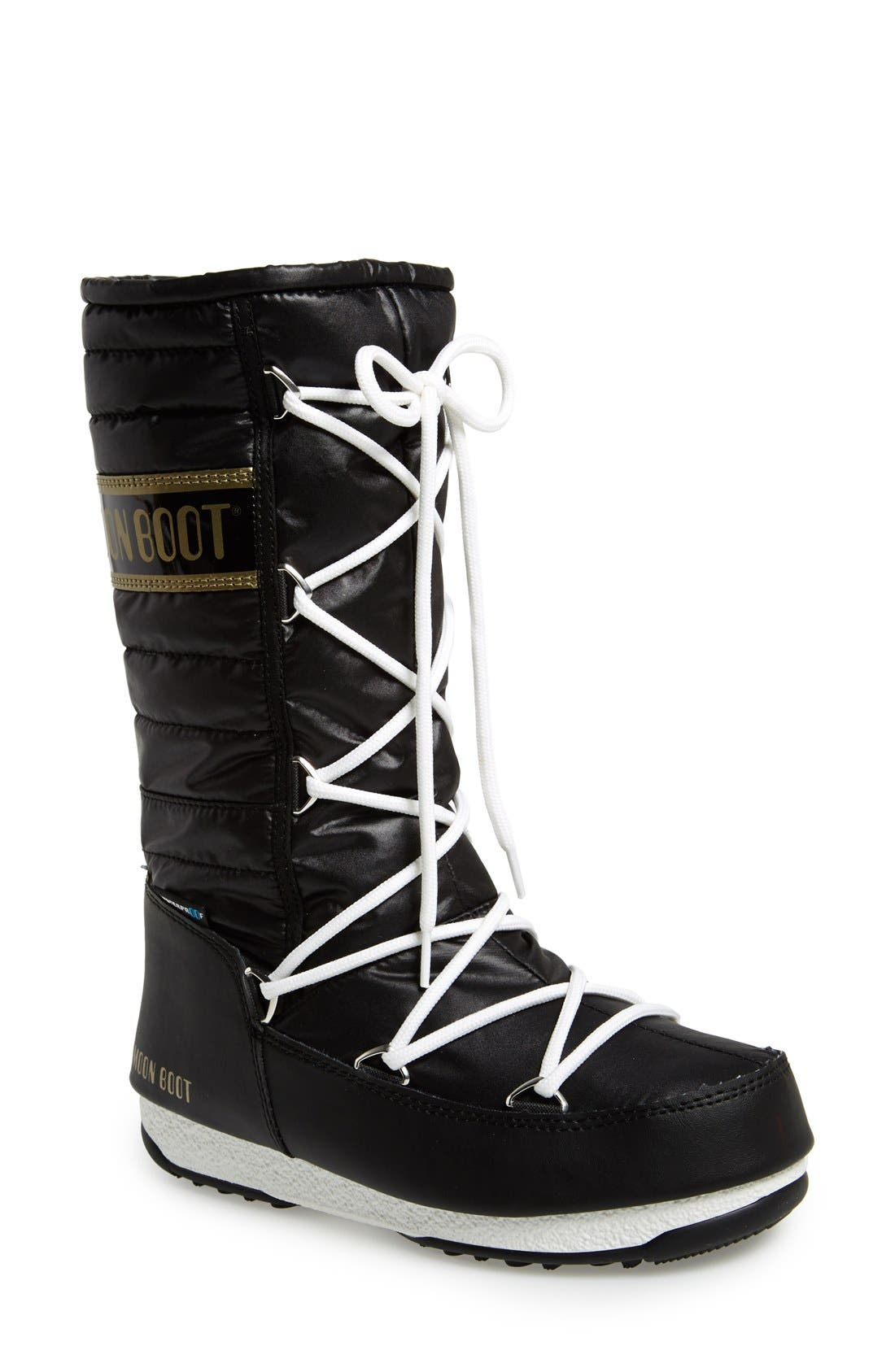 Quilted Waterproof Insulated Moon Boot<sup>®</sup>,                             Main thumbnail 1, color,                             Black/ Gold