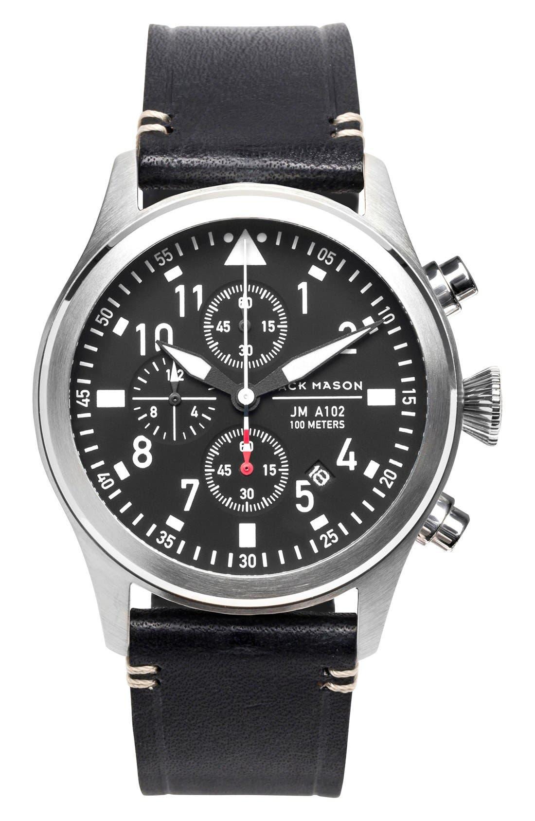 Main Image - Jack Mason Chronograph Leather Strap Watch, 42mm