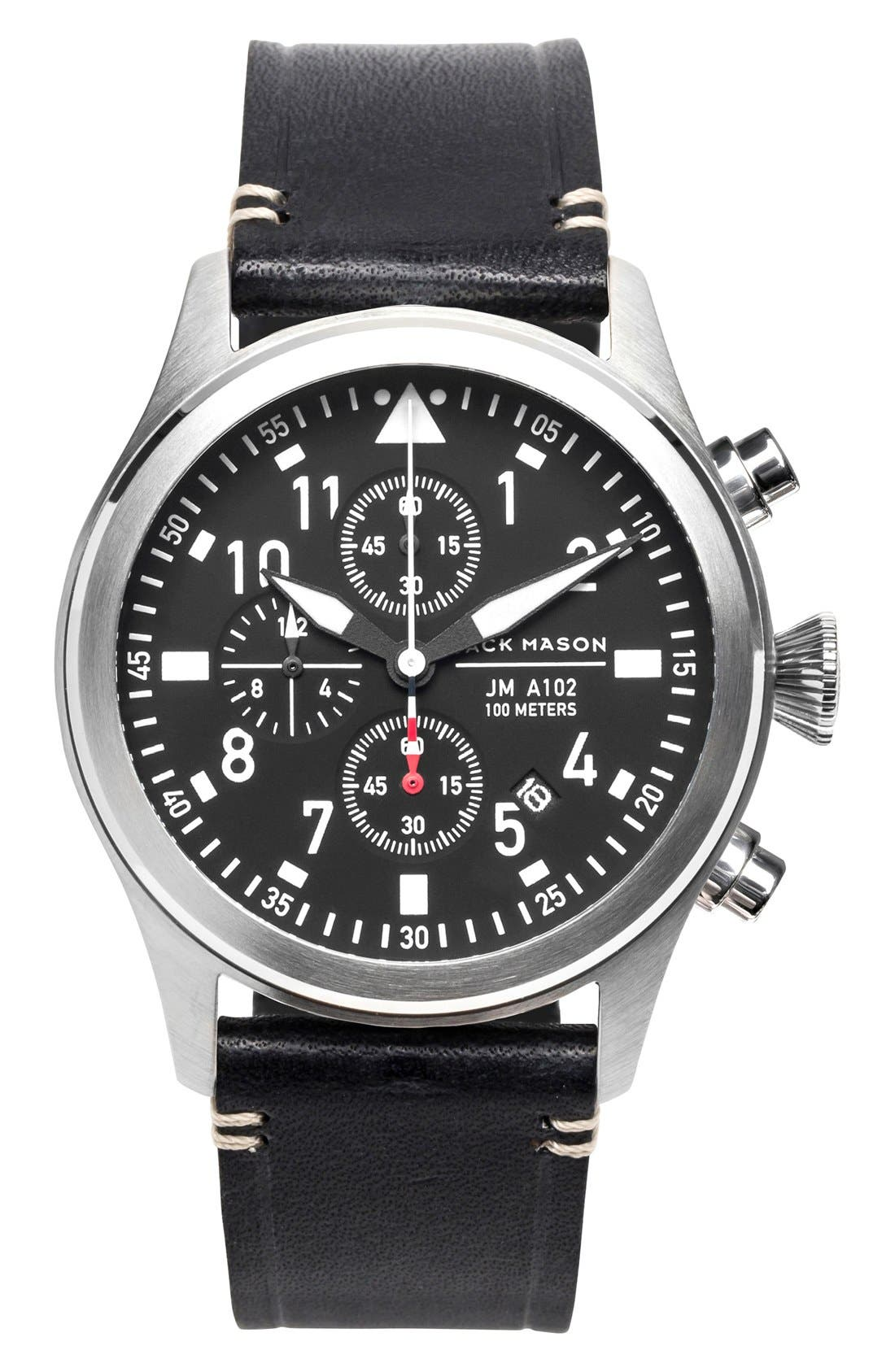 Chronograph Leather Strap Watch, 42mm,                         Main,                         color, Black/ Silver/ Black