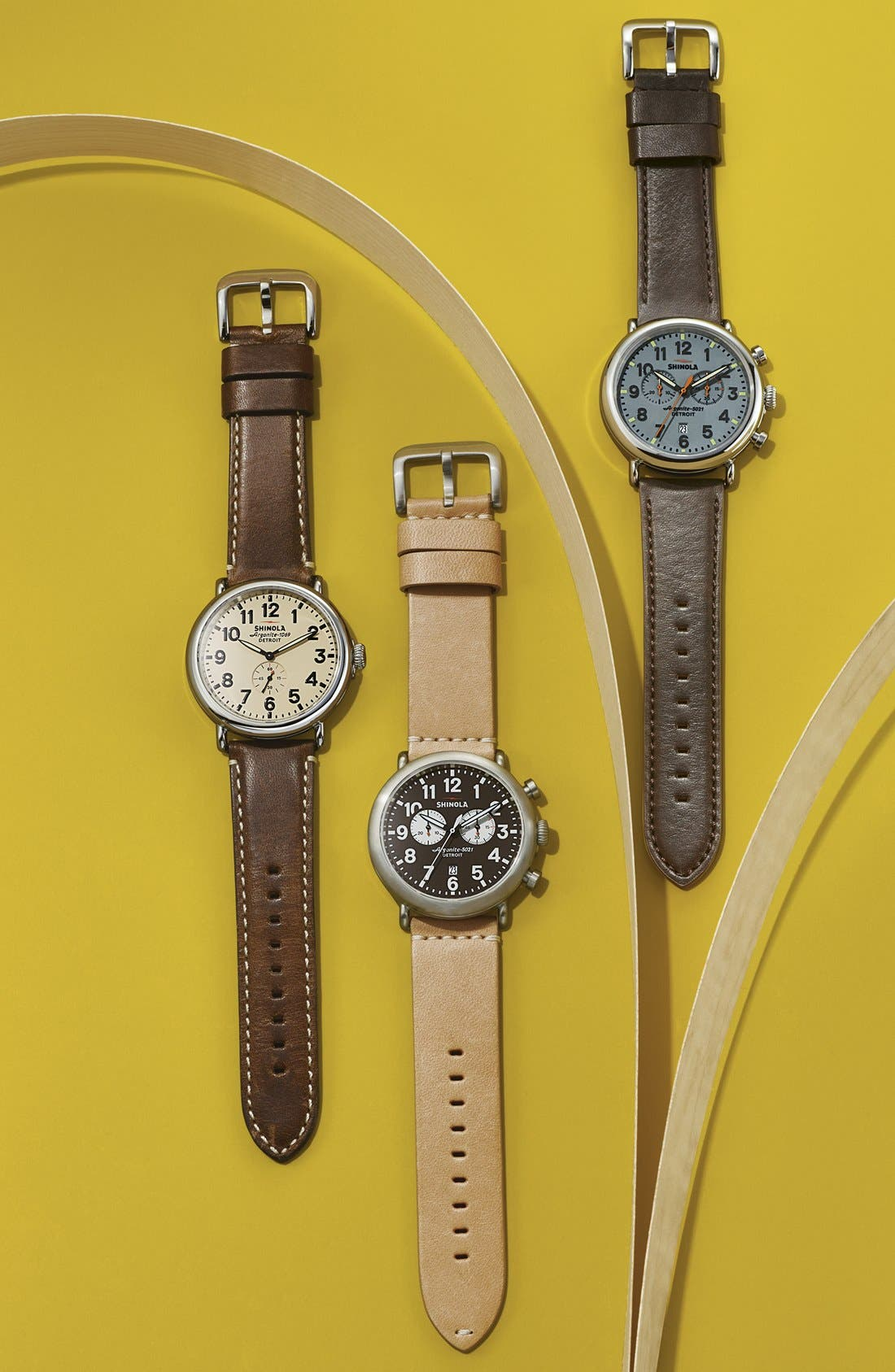 The Runwell Chrono Leather Strap Watch, 47mm,                             Alternate thumbnail 6, color,