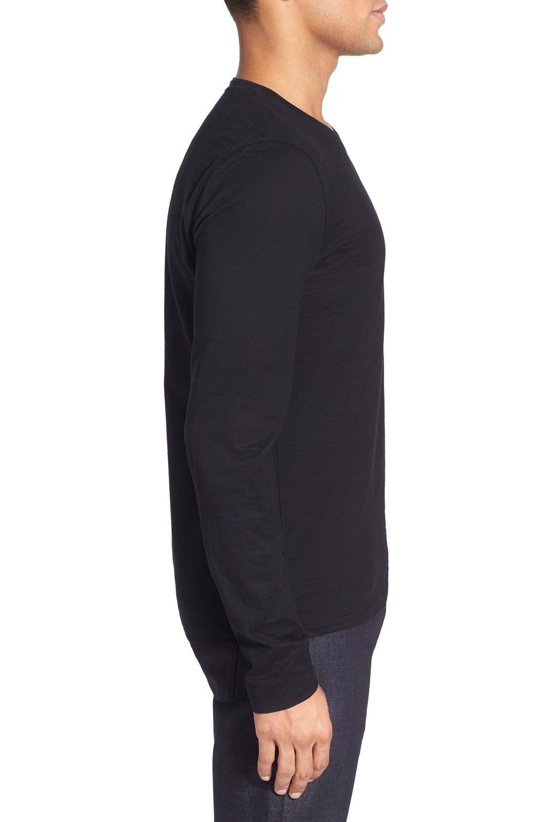 'Tyson' V-Neck Long Sleeve T-Shirt,                             Alternate thumbnail 3, color,                             Black