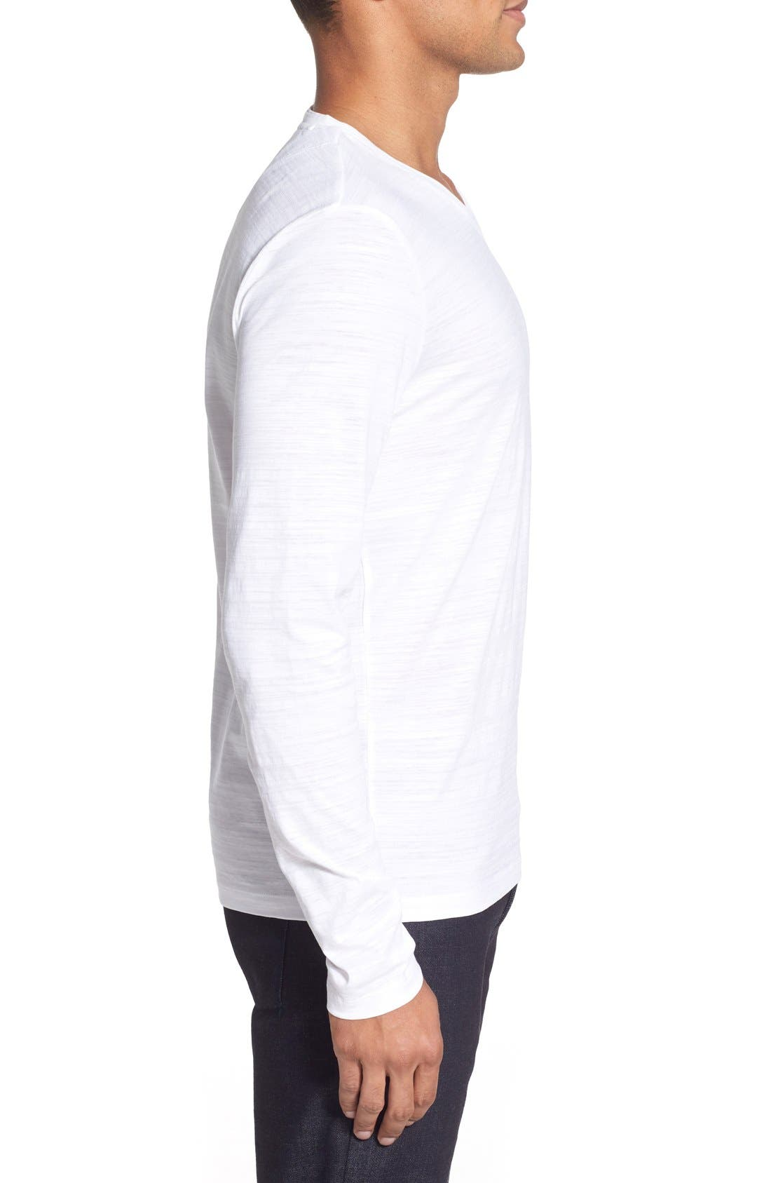 'Tyson' V-Neck Long Sleeve T-Shirt,                             Alternate thumbnail 3, color,                             White