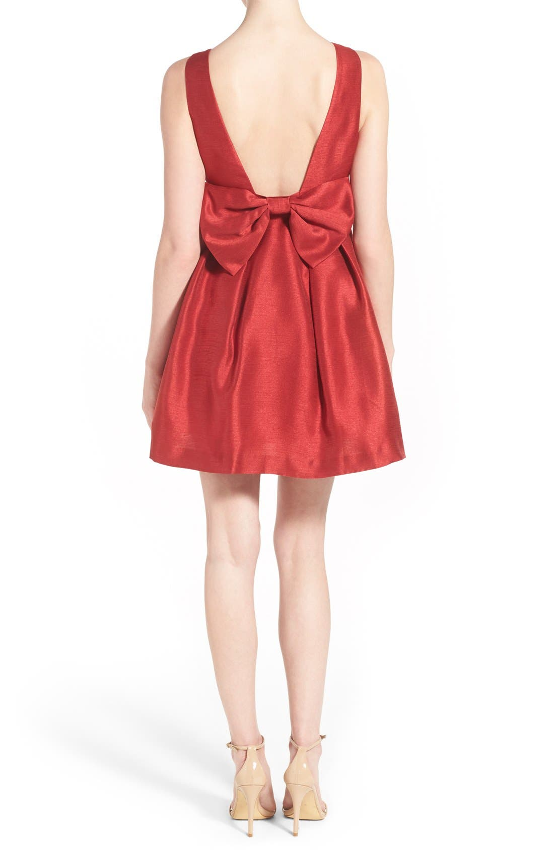 Bow Back Fit & Flare Dress,                         Main,                         color, Dark Red