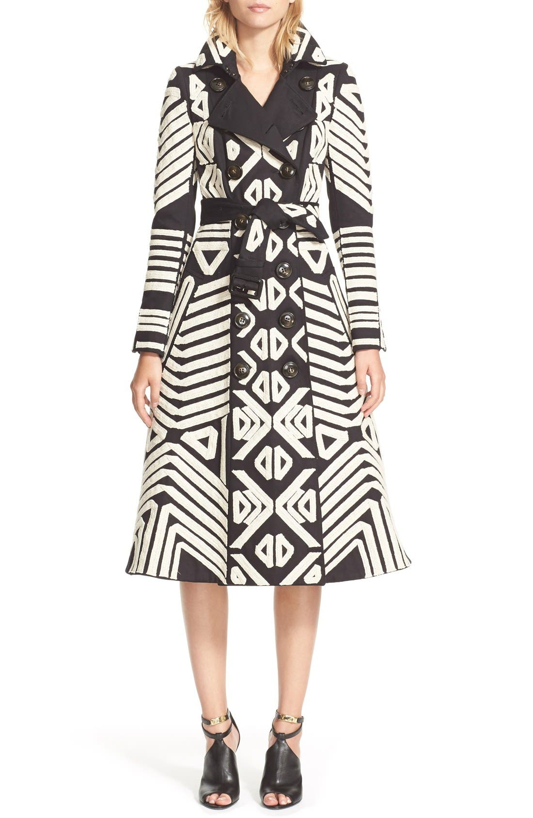Alternate Image 1 Selected - Burberry Prorsum Embellished Cotton Trench Coat