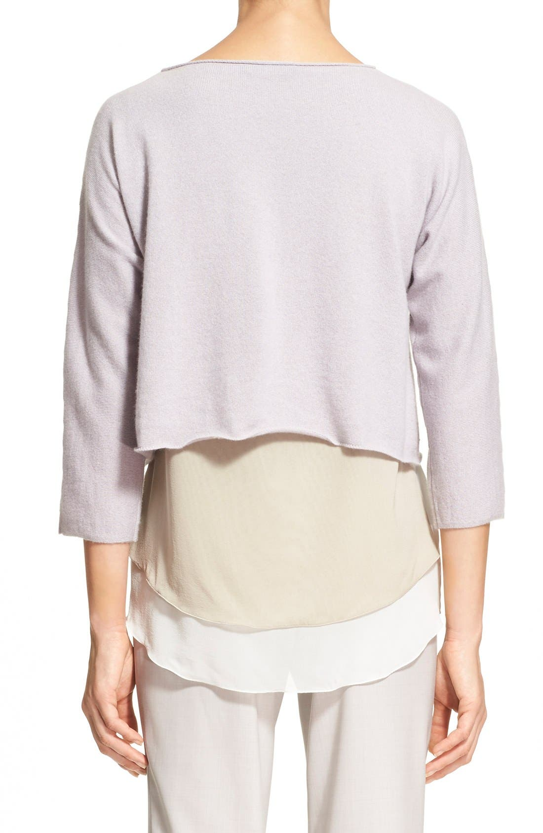 Alternate Image 2  - Fabiana Filippi Contrast Hem Cashmere & Stretch Silk Top
