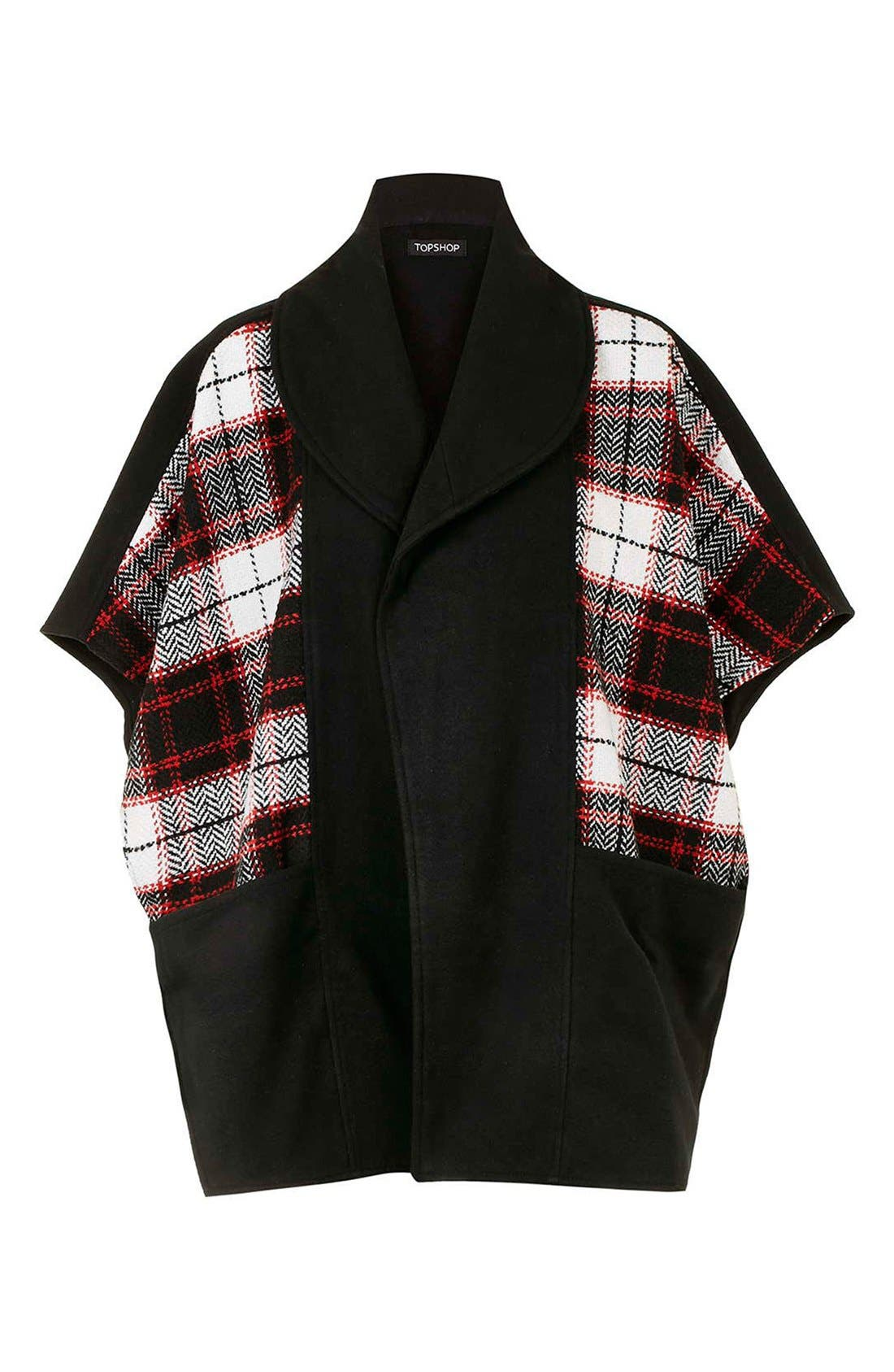 Alternate Image 4  - Topshop Mixed Check Cape