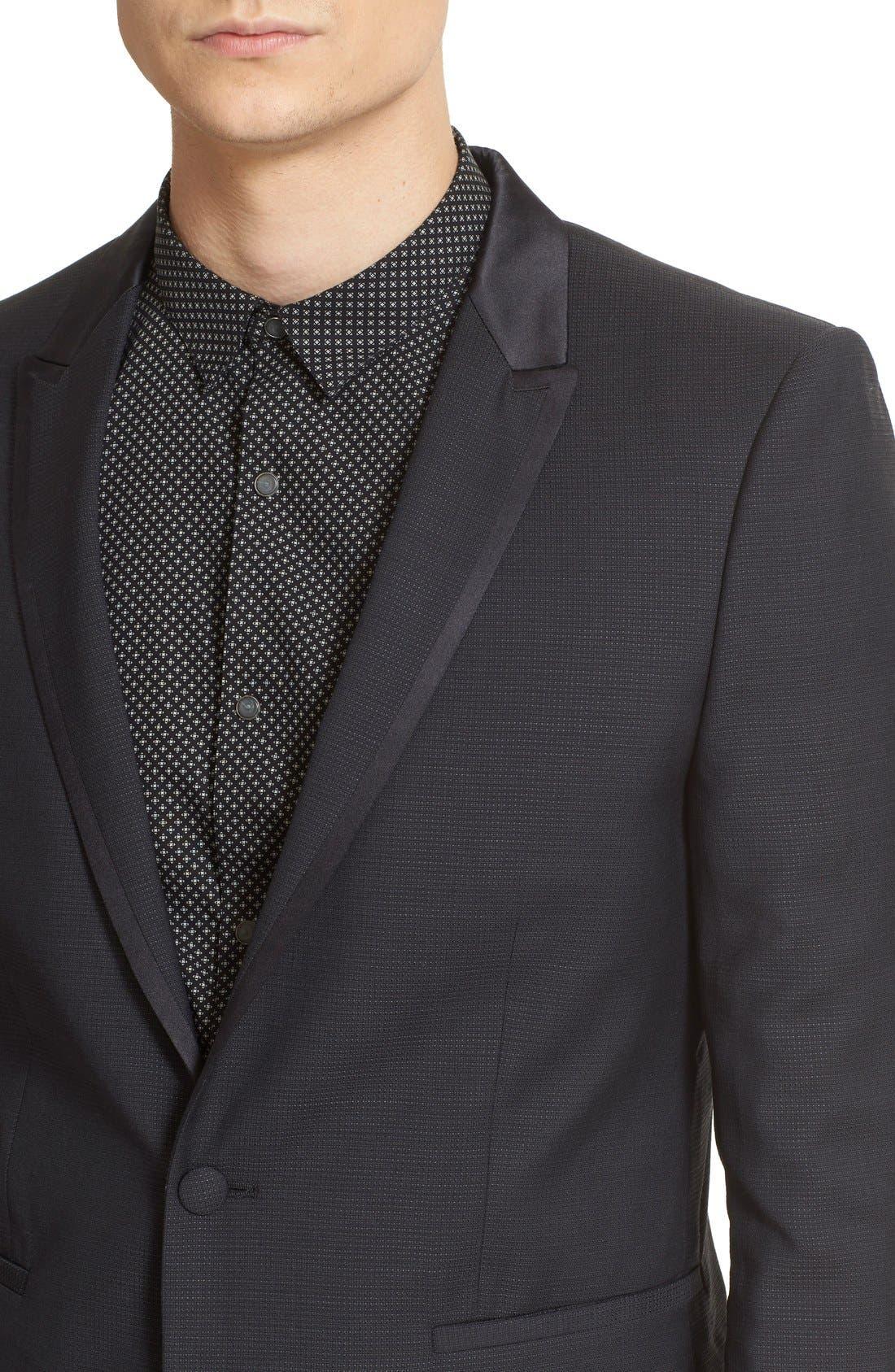 'Netting' Trim Fit Suit Jacket,                             Alternate thumbnail 4, color,                             Black