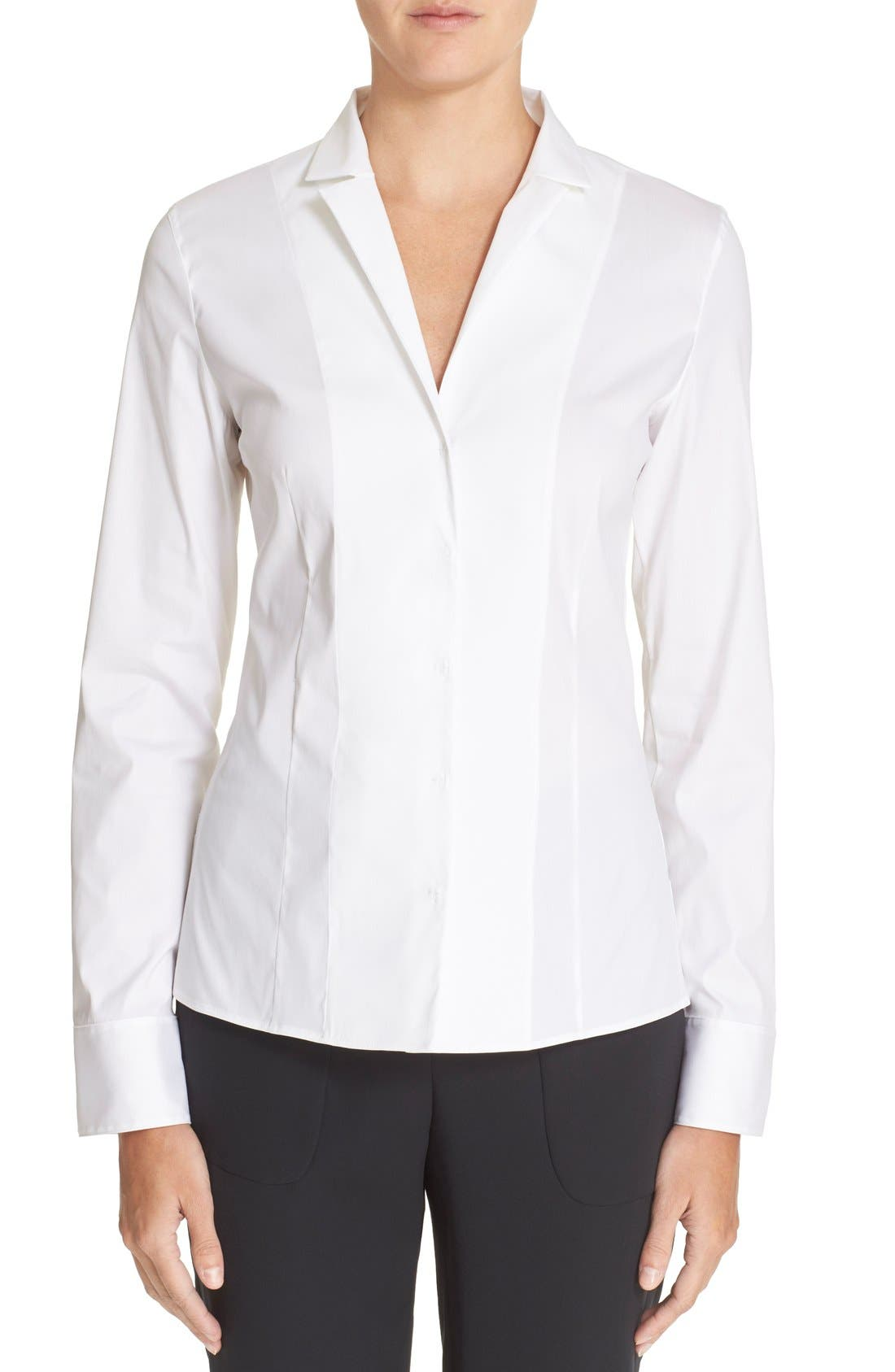 Cotton Poplin Blouse,                             Main thumbnail 1, color,                             White