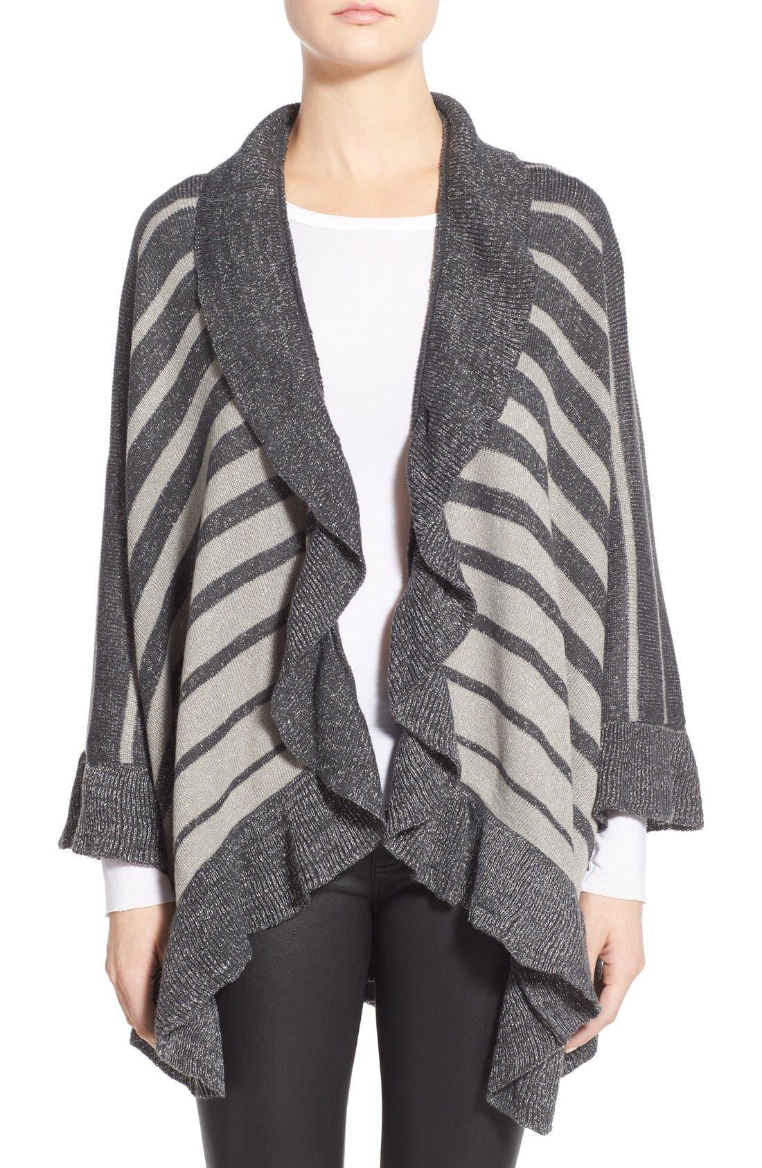 Stripe Shawl,                             Main thumbnail 1, color,                             Grey/ Ivory